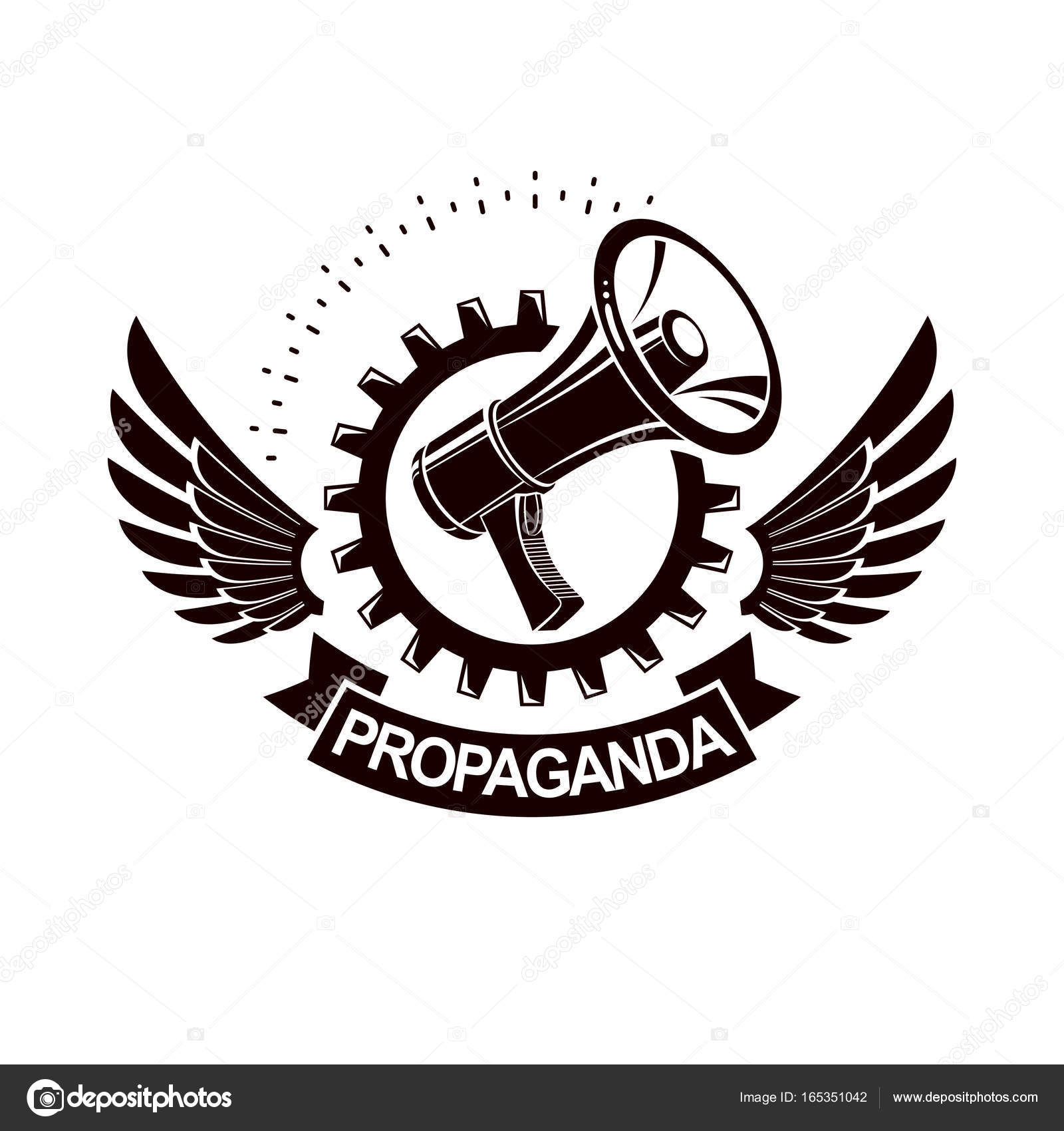 Vector winged logo composed with megaphone equipment stock vector winged logo composed with megaphone equipment surrounded by engineering cog wheel proletarian revolution abstract sign political propaganda biocorpaavc