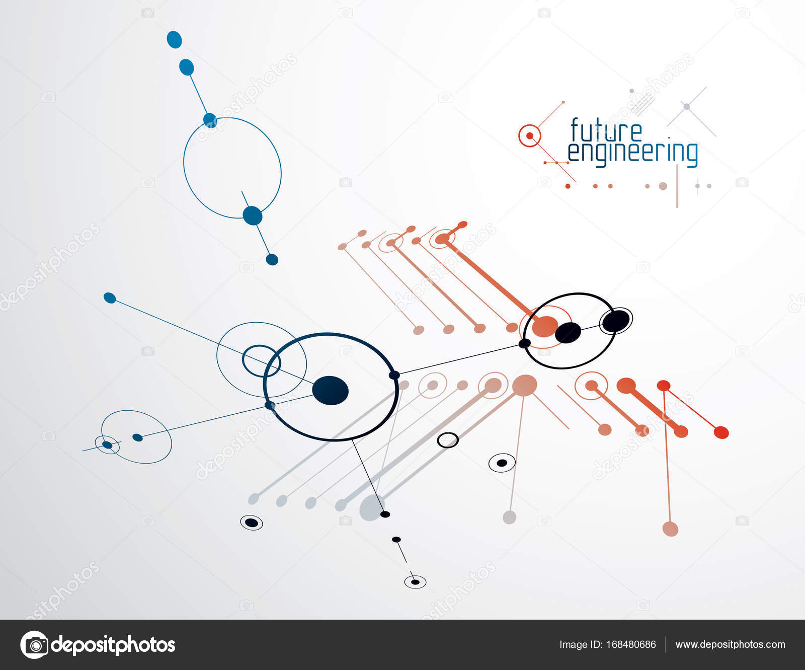 Mechanical Scheme Vector Engineering Drawing With Circles And Geometric Parts Of Mechanism Technical Plan Wallpaper Background By Ostapius