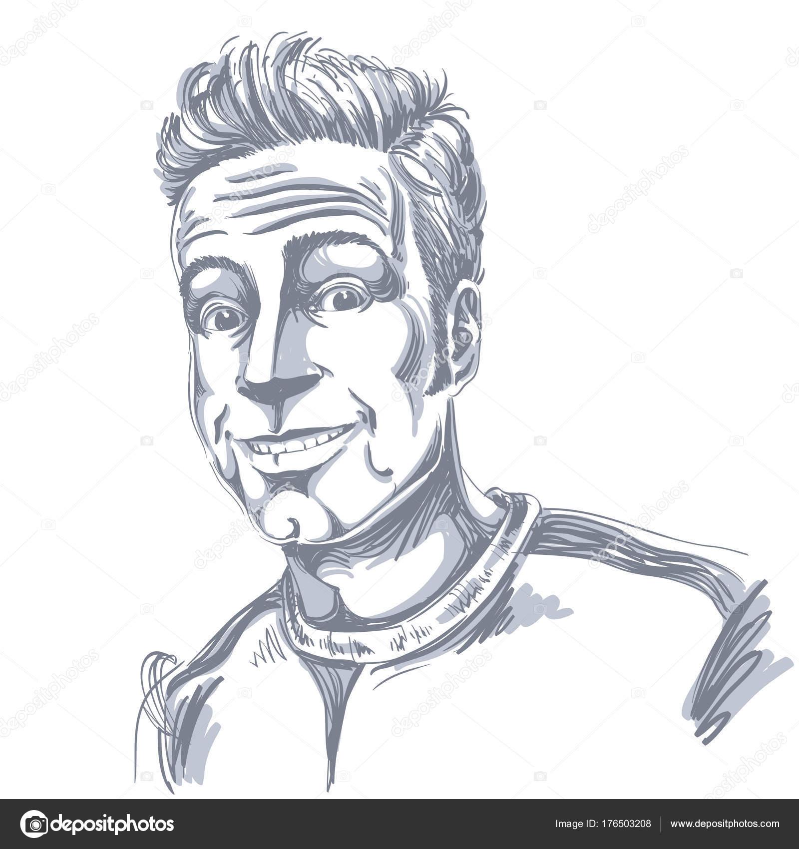 自信を持って男性を笑顔のベクトルの手描きイラスト 陽気な男の顔を表現