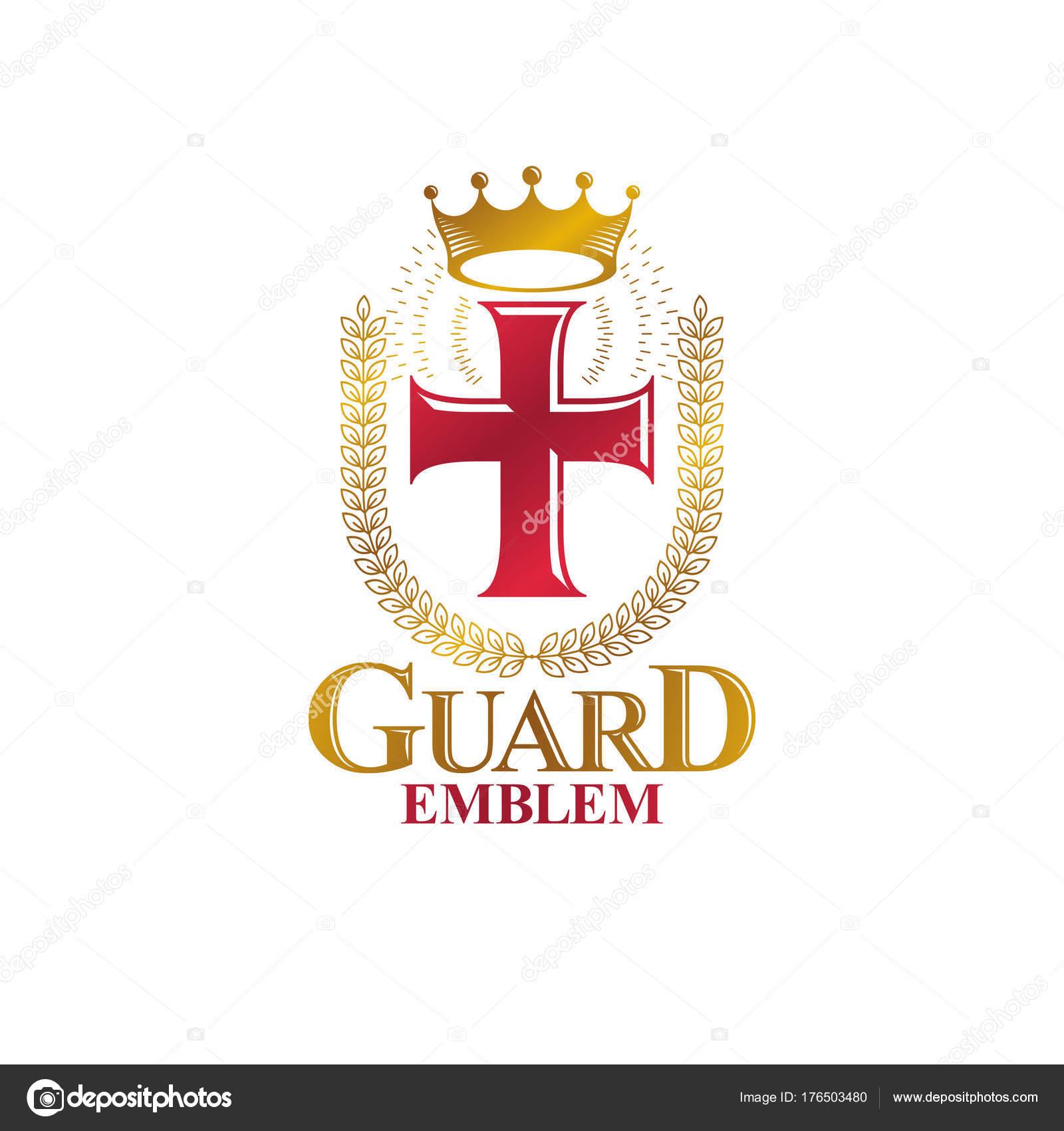 Christian Cross Golden Emblem Created Royal Crown Laurel Wreath