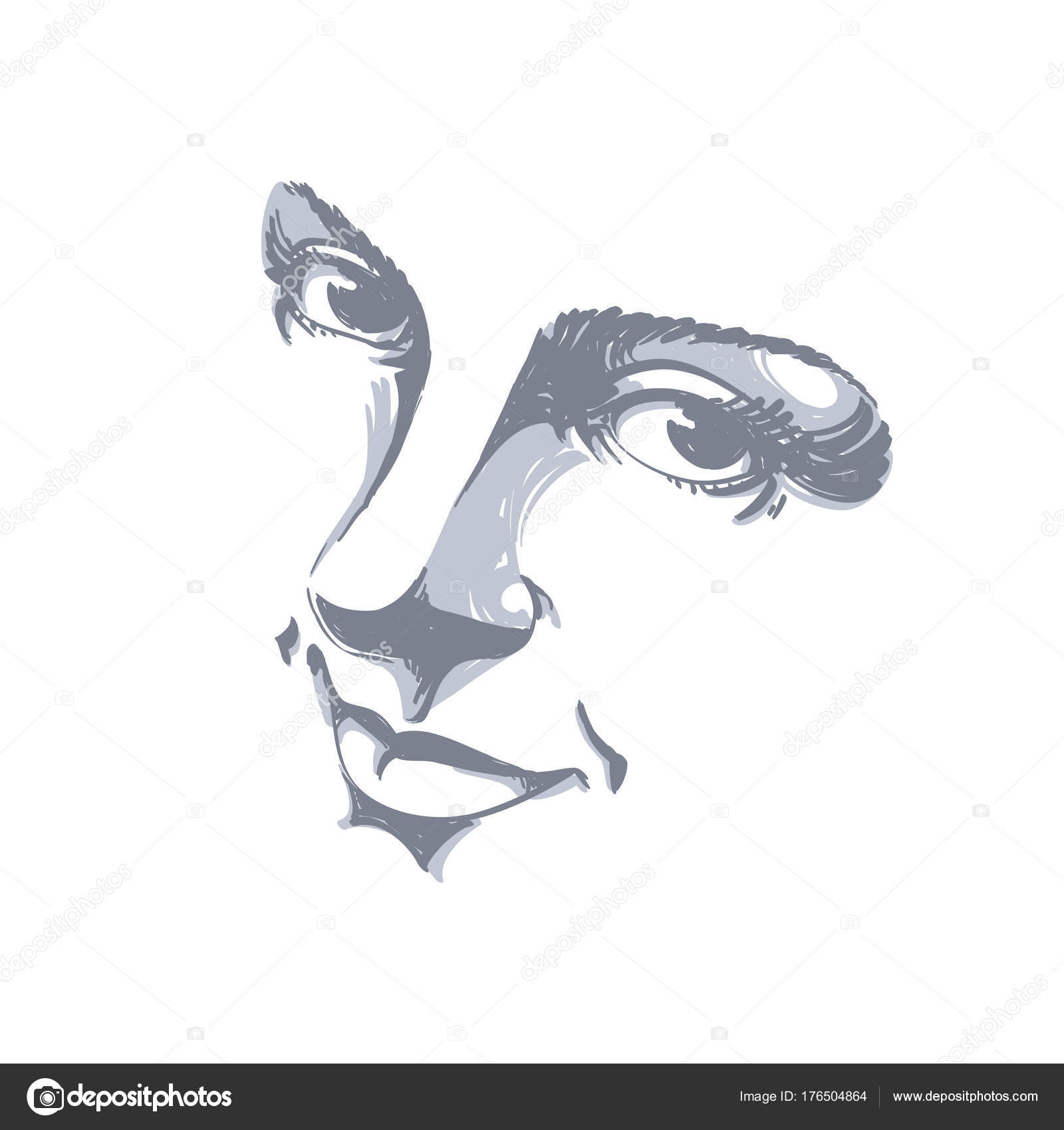 Illustration Visage monochrome silhouette smiling attractive lady face features hand