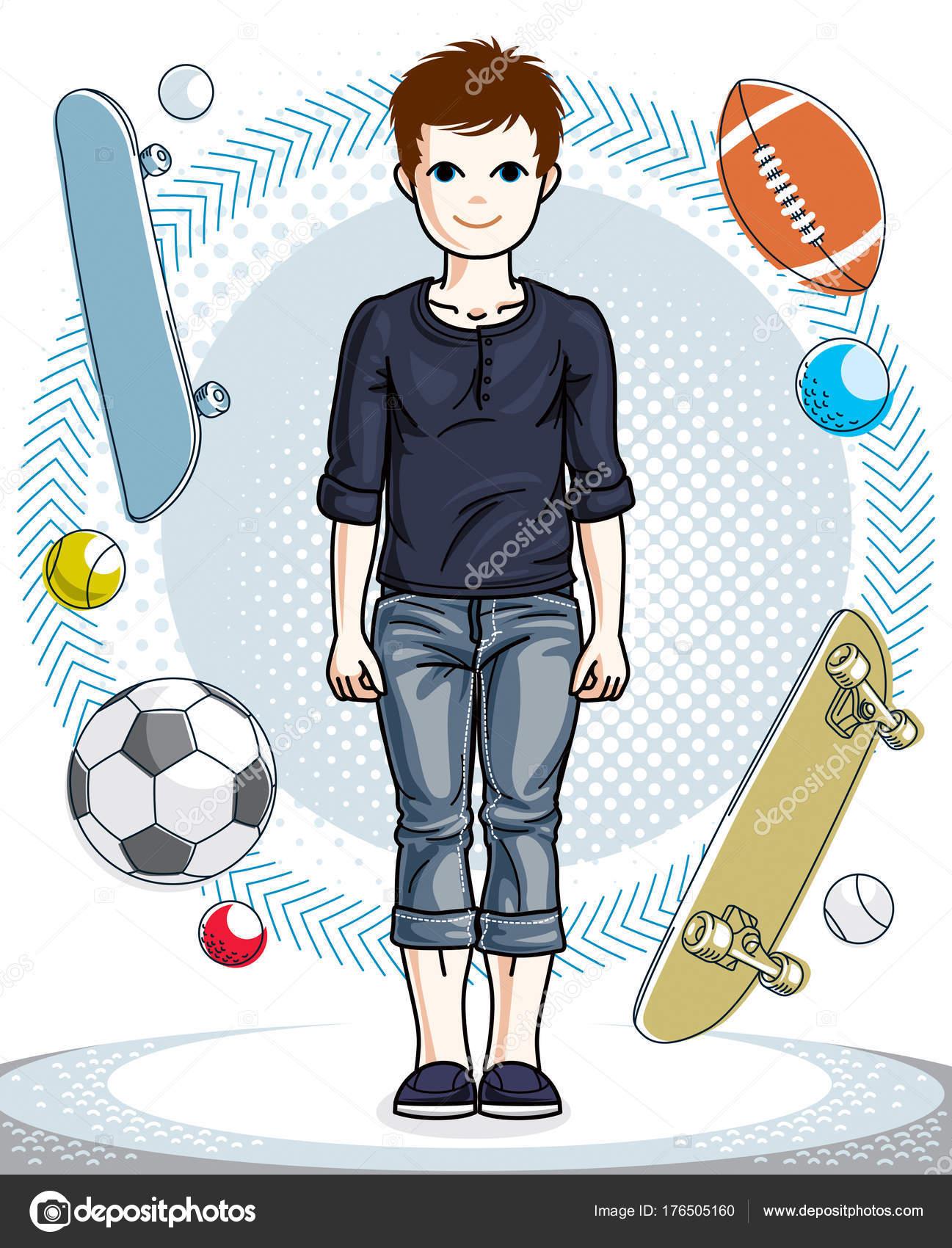 2e3ebafa296 Νέοι έφηβος αγόρι παιδί χαριτωμένο στέκεται σε κομψά casual ρούχα.  Διανυσματικό χαρακτήρα. Παιδική ηλικία lifestyle εικόνες clip art —  Διάνυσμα με ...