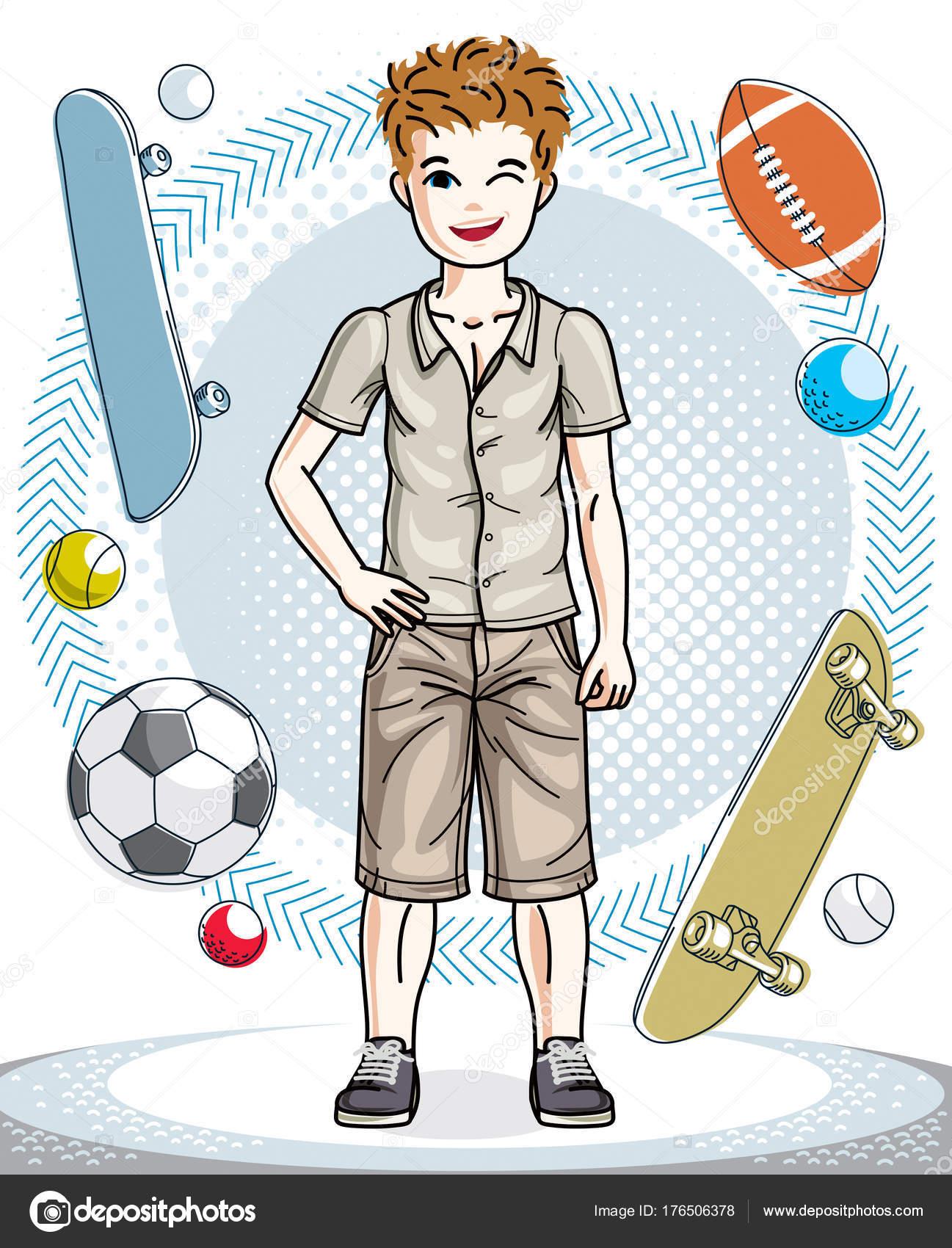 かわいい幸せな若い十代の男の子スタイリッシュなカジュアルな服でポーズ