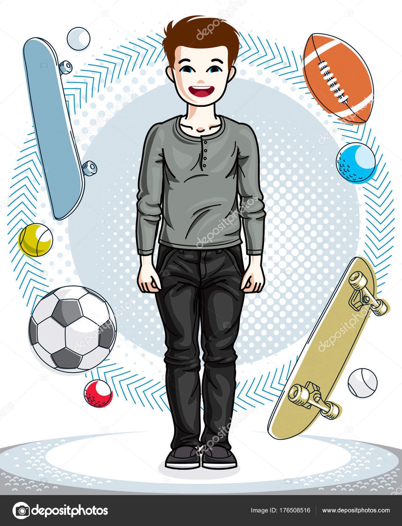 c22657f8a2e Γλυκό μικρό αγόρι νεαρός έφηβος στέκεται φορούν casual ρούχα. Διανυσματικό  χαρακτήρα. Παιδική ηλικία lifestyle εικόνες clip art — Διάνυσμα με Ostapius