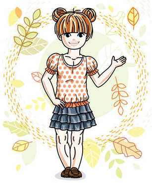 Cute happy little red-haired girl posing on background of autumn landscape and wearing fashionable casual clothes. Vector character.