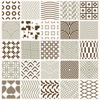 Collection of vector abstract seamless compositions best for use as wrapping papers, symmetric ornate backgrounds created with simple geometric shapes.