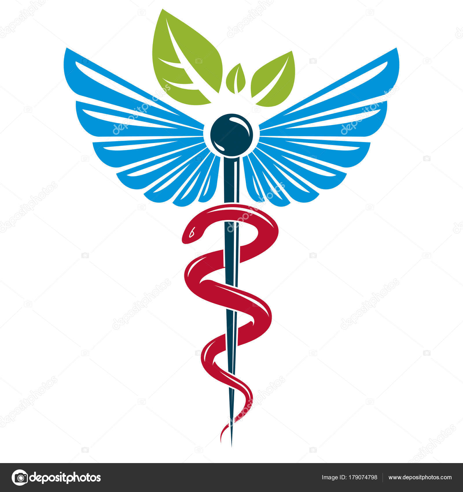 Caduceus Symbol Composed Poisonous Snakes Bird Wings Healthcare