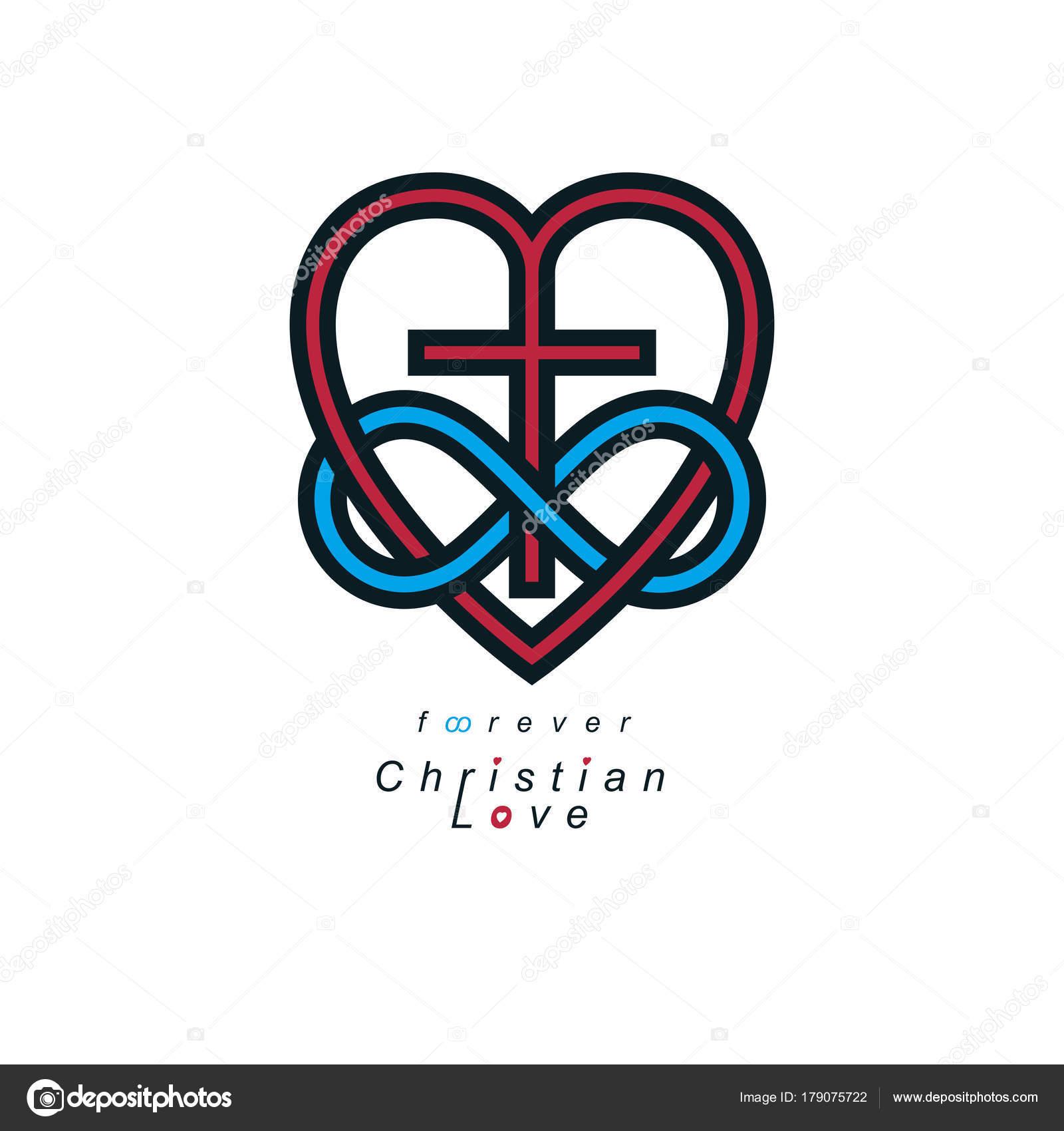 True Infinite Christian Love Belief God Vector Creative Symbol