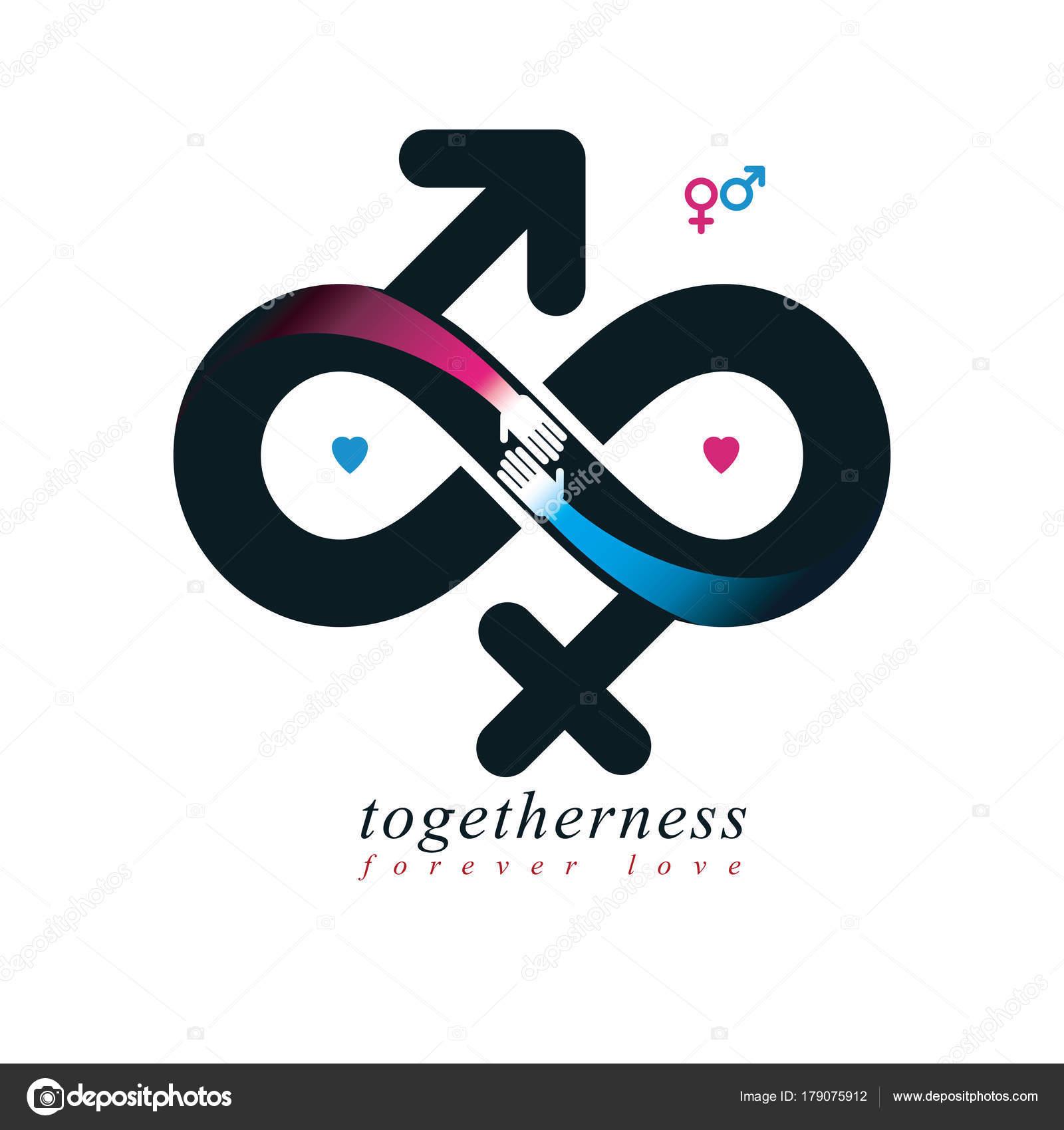 Eternal Couple Conceptual Logo Vector Symbol Created Infinity Sign