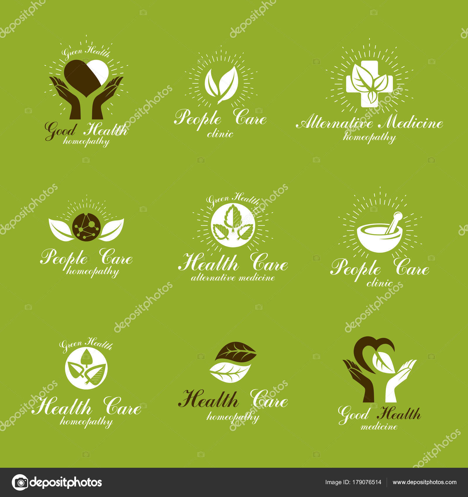 Homeopathy creative symbols collection restoring health conceptual homeopathy creative symbols collection restoring health conceptual vector emblems created stock vector buycottarizona Images