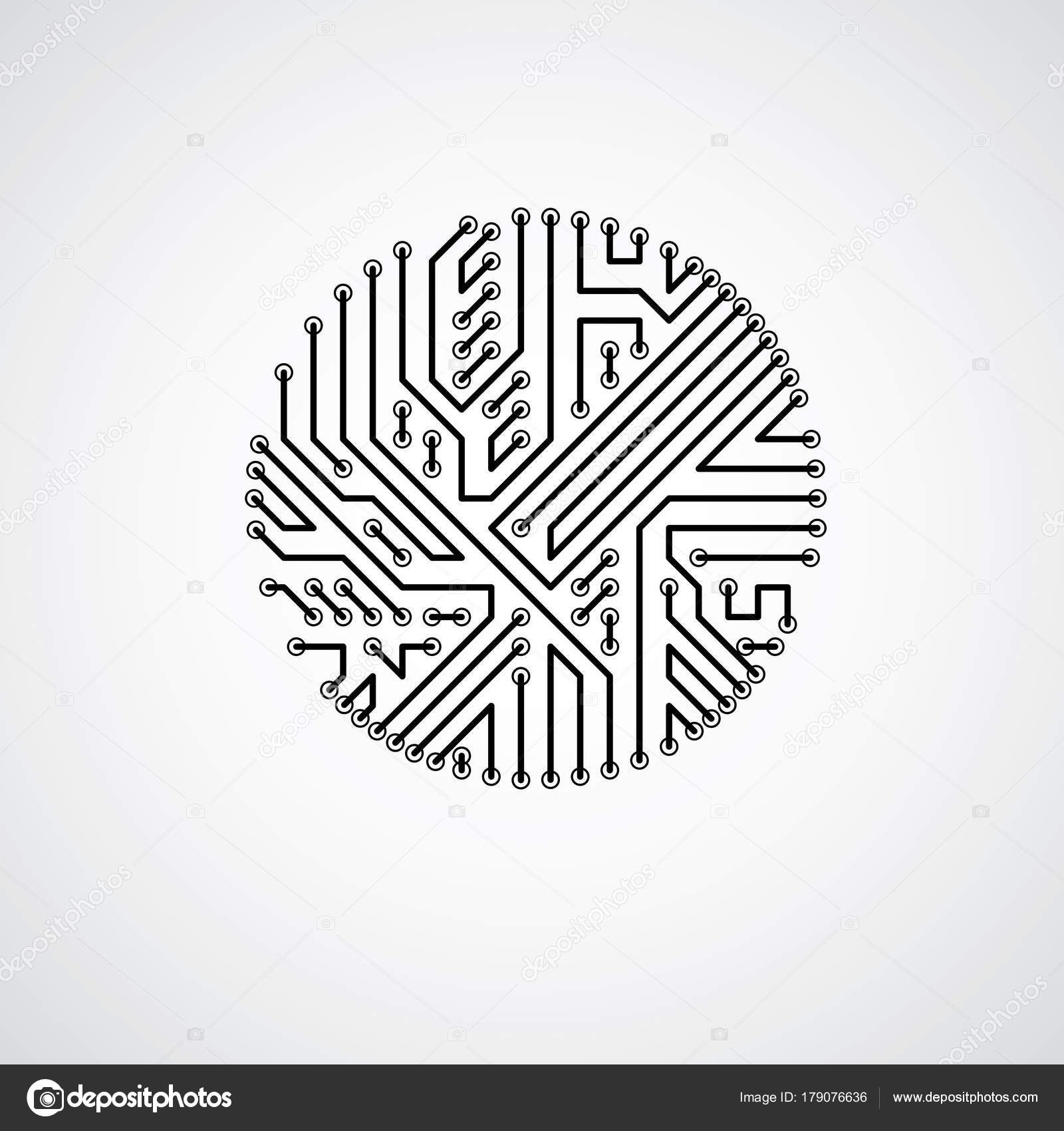 vector abstract technology illustration monochrome circuit board
