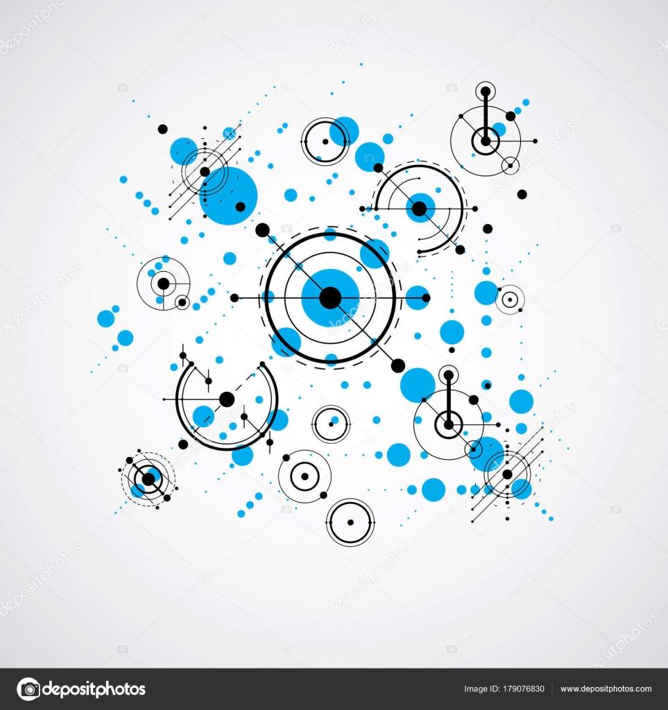 bauhaus art composition decorative modular blue vector wallpaper