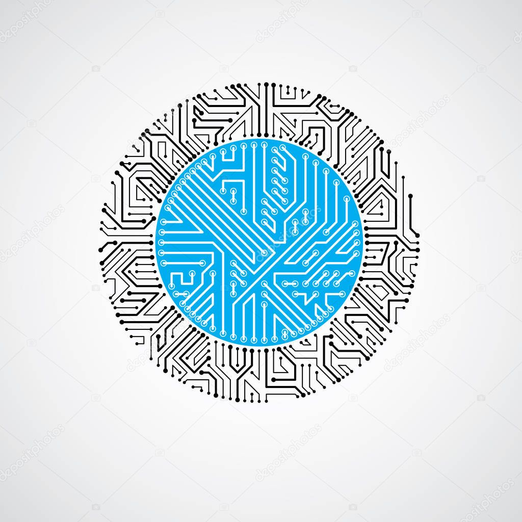 Icons Website Search Over 28444869 Icon Graphic Of Technological Theme And Circuit Board Vector Abstract Computer Colorful Illustration Blue Round Technology Element With Connections