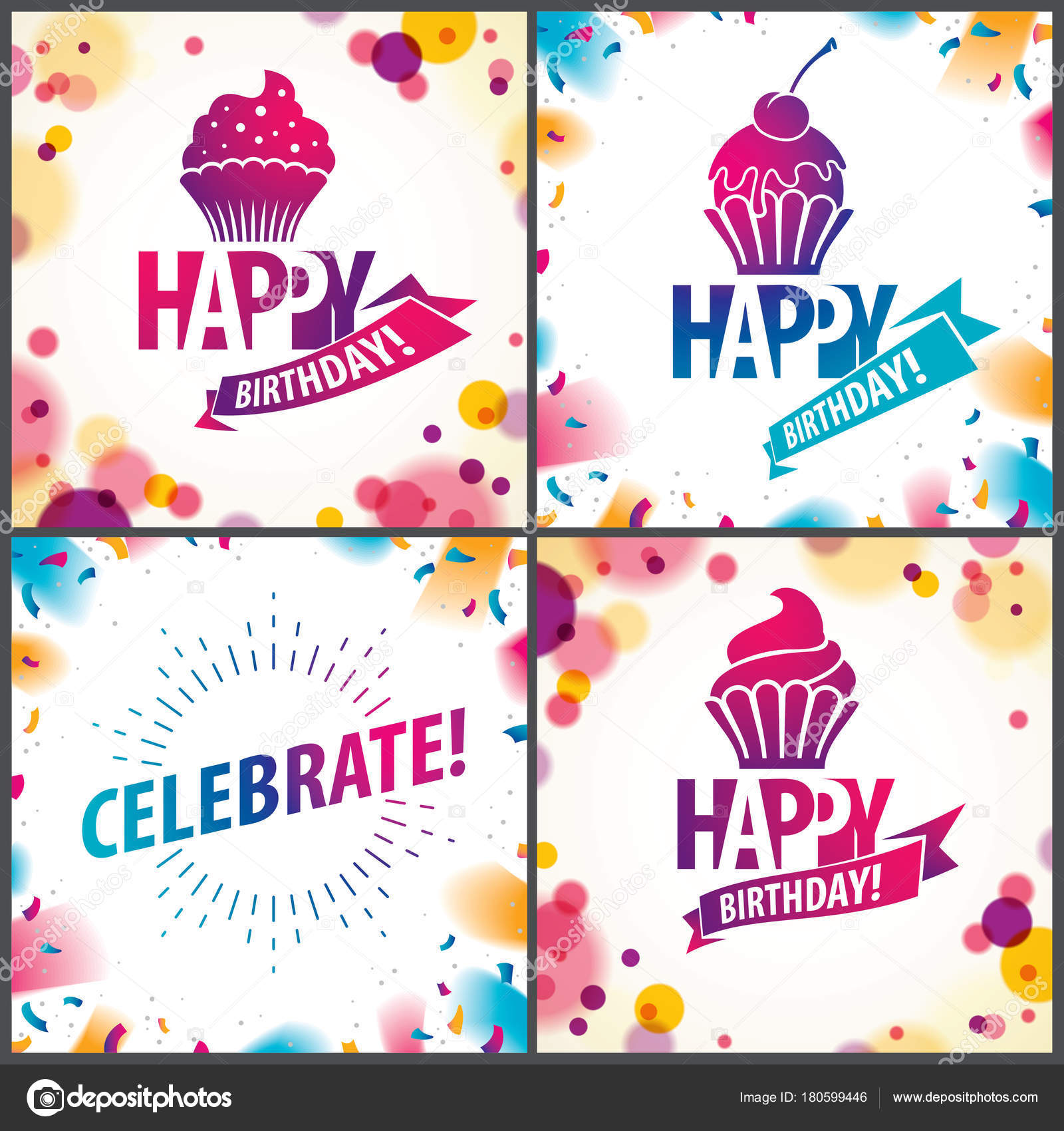 Happy birthday joyful bright vector greeting cards set stock happy birthday joyful bright vector greeting cards set stock vector m4hsunfo