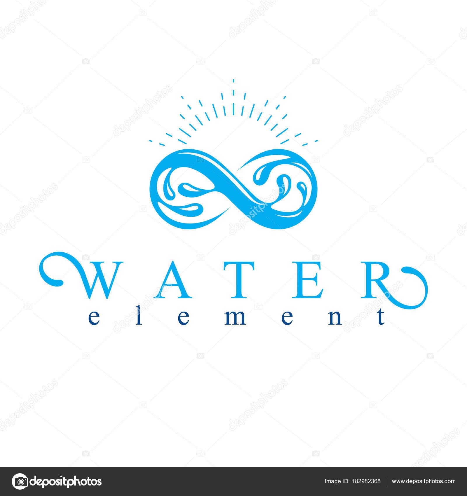 Bergwasser Frühling Konzeptionelle Logo Grenzenlose Symbol Wasser ...