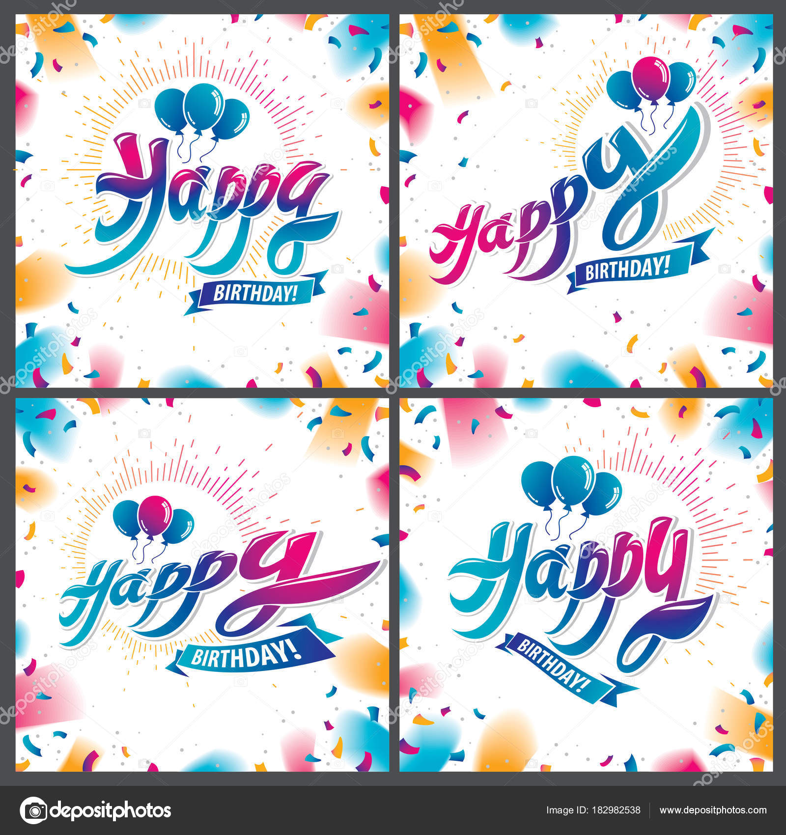 Happy Birthday Beautiful Greeting Cards Vector Designs Set Includes