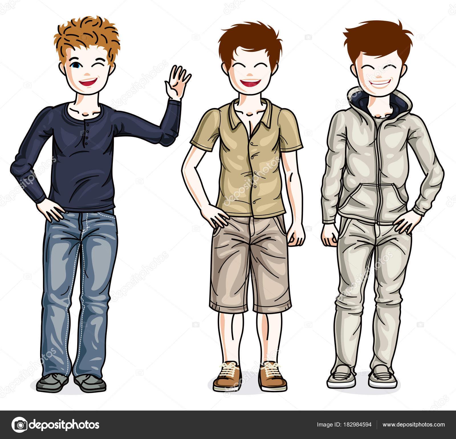 小さな男の子のかわいい子供をスタイリッシュなカジュアルな服で立ってい