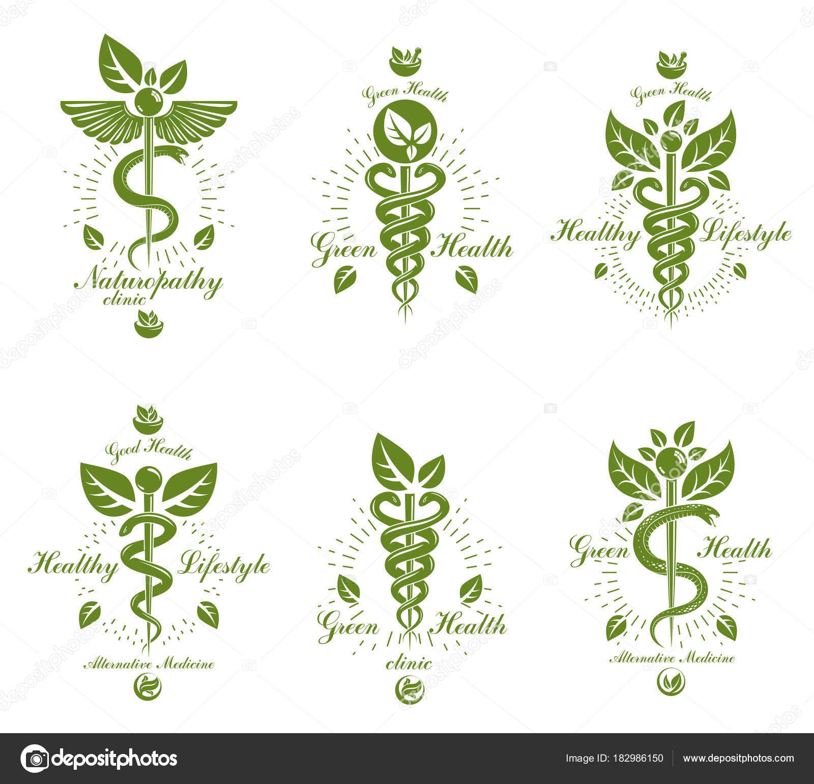 Conjunto Caduceo Vector Emblemas Conceptuales Creados Con Las ...