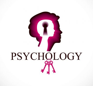 Psychology vector logo created with woman head profile and little child girl inside with keyhole, inner child, a key to human individuality and psychic problems concept. Therapy and analysis concept.