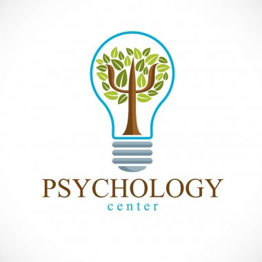 Psychology concept vector logo or icon created with Greek Psi symbol as a green tree with leaves inside of idea light bulb, mental health concept, psychoanalysis analysis and psychotherapy therapy.