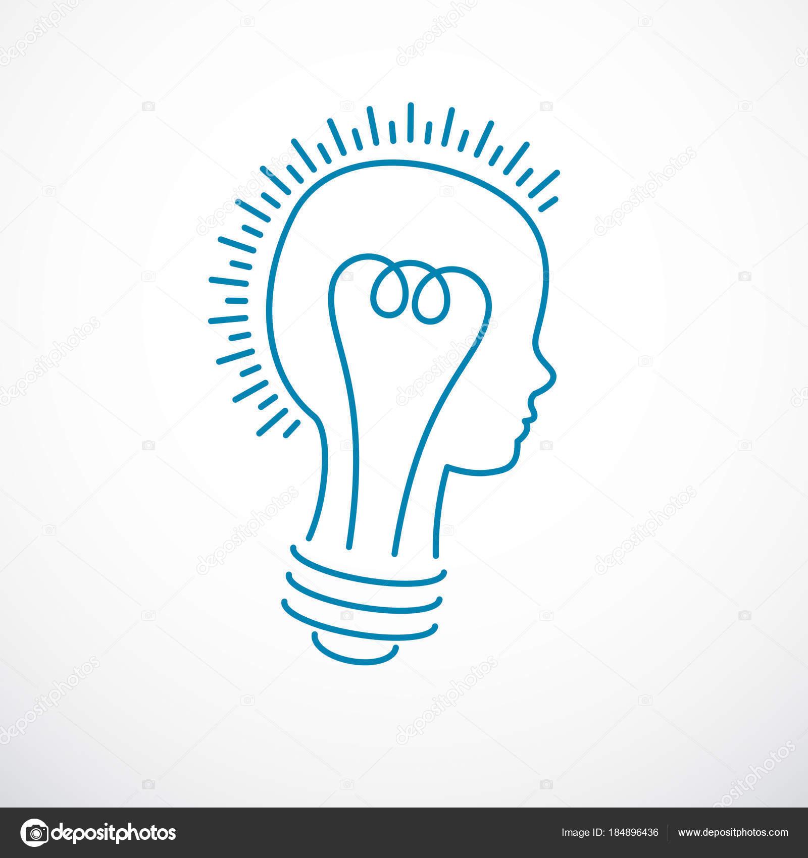 Creative Brain Concept Intelligent Person Vector Logo Light Bulb Shape Stock