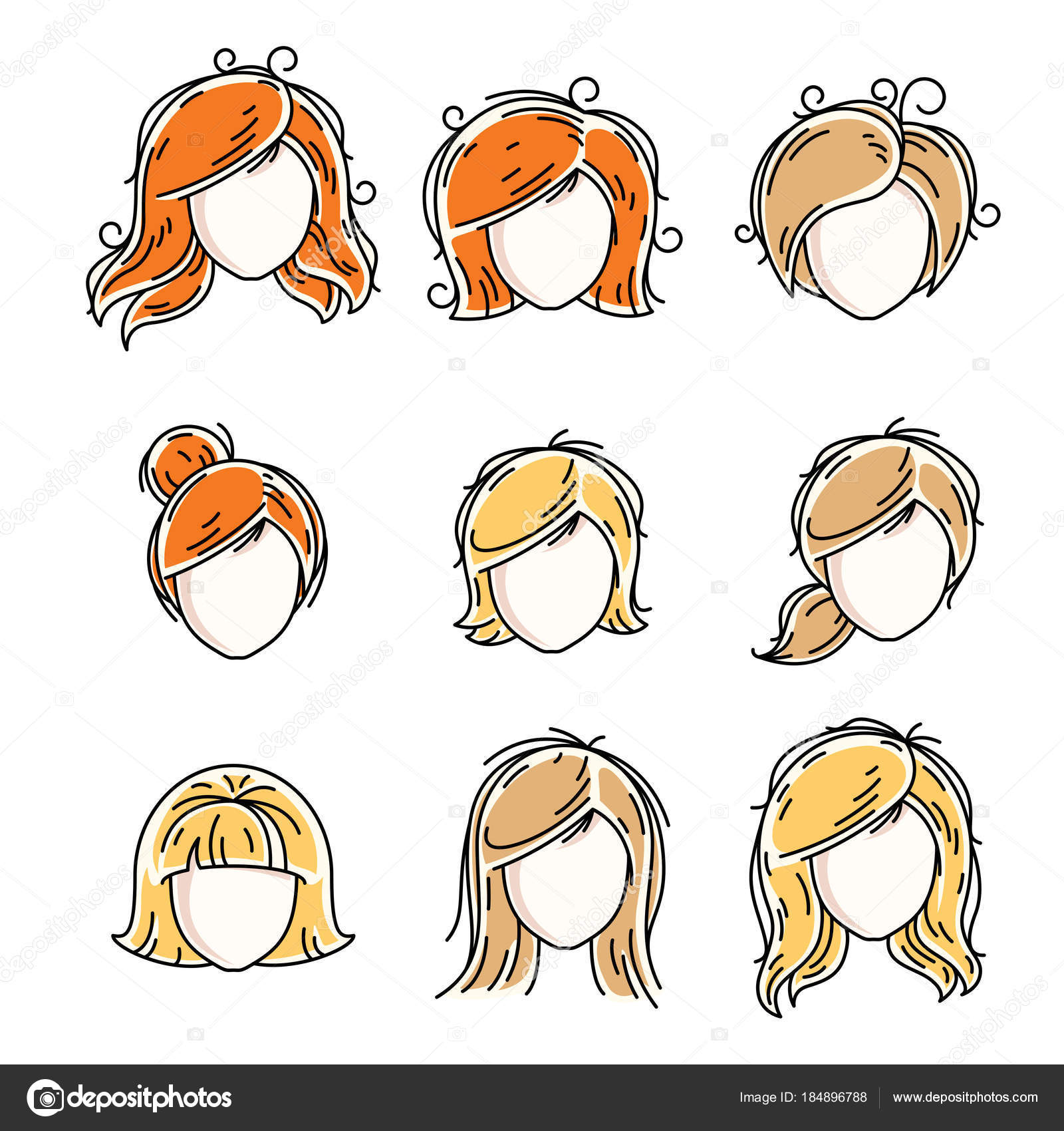 Collection Women Faces Human Heads Diverse Vector Characters