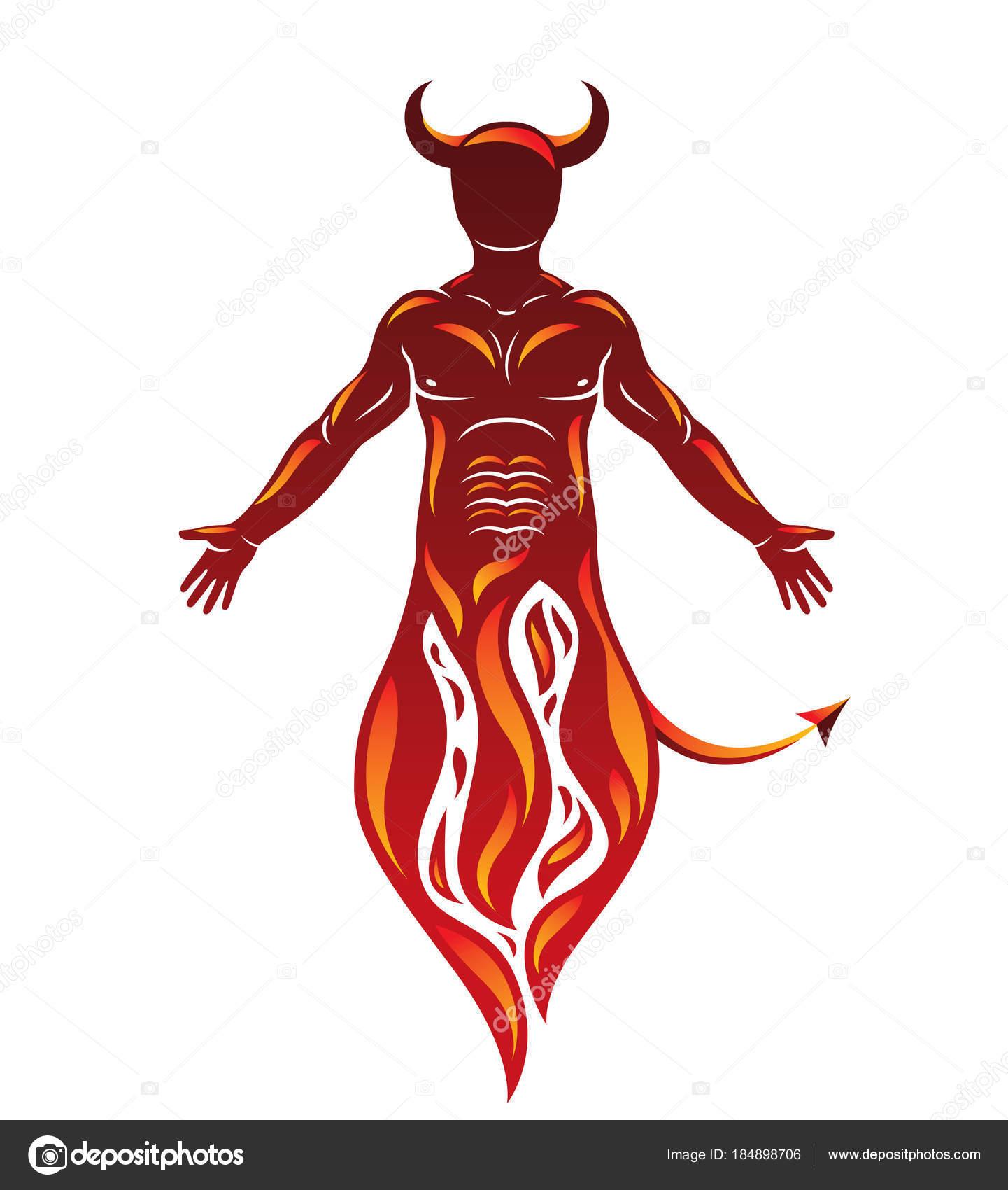 Ser Humano Vector Llama Místico Infernal Cuernos Satanás Espíritu ...