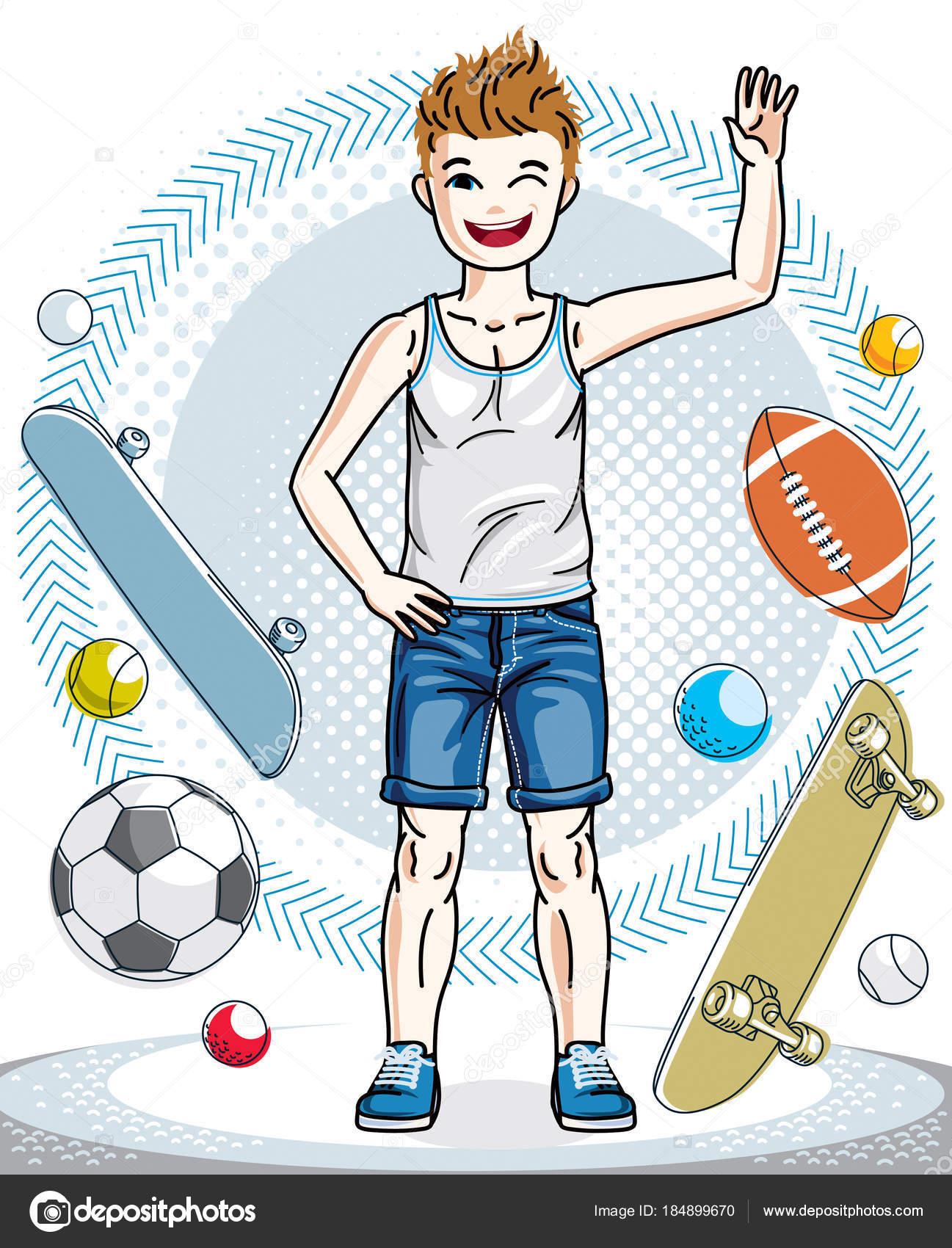 96a2cee8340 Όμορφο μικρό αγόρι χαριτωμένο παιδί στέκεται φορώντας μοντέρνο casual ρούχα.  Πολύ ωραίο άνθρωπο εικονογράφηση φορέα. Παιδική ηλικία lifestyle εικόνες  clip ...