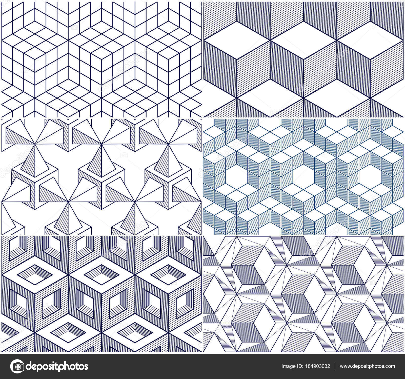 Geometric Lines Abstract Seamless Patterns Set Vector