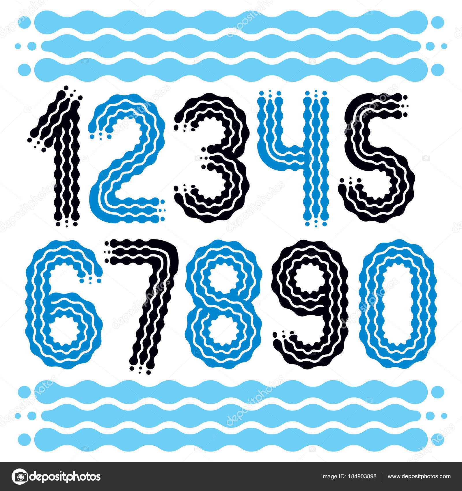 Vector Trendy Cool Numbers Collection Rounded Bold Numerals Can Used Stock