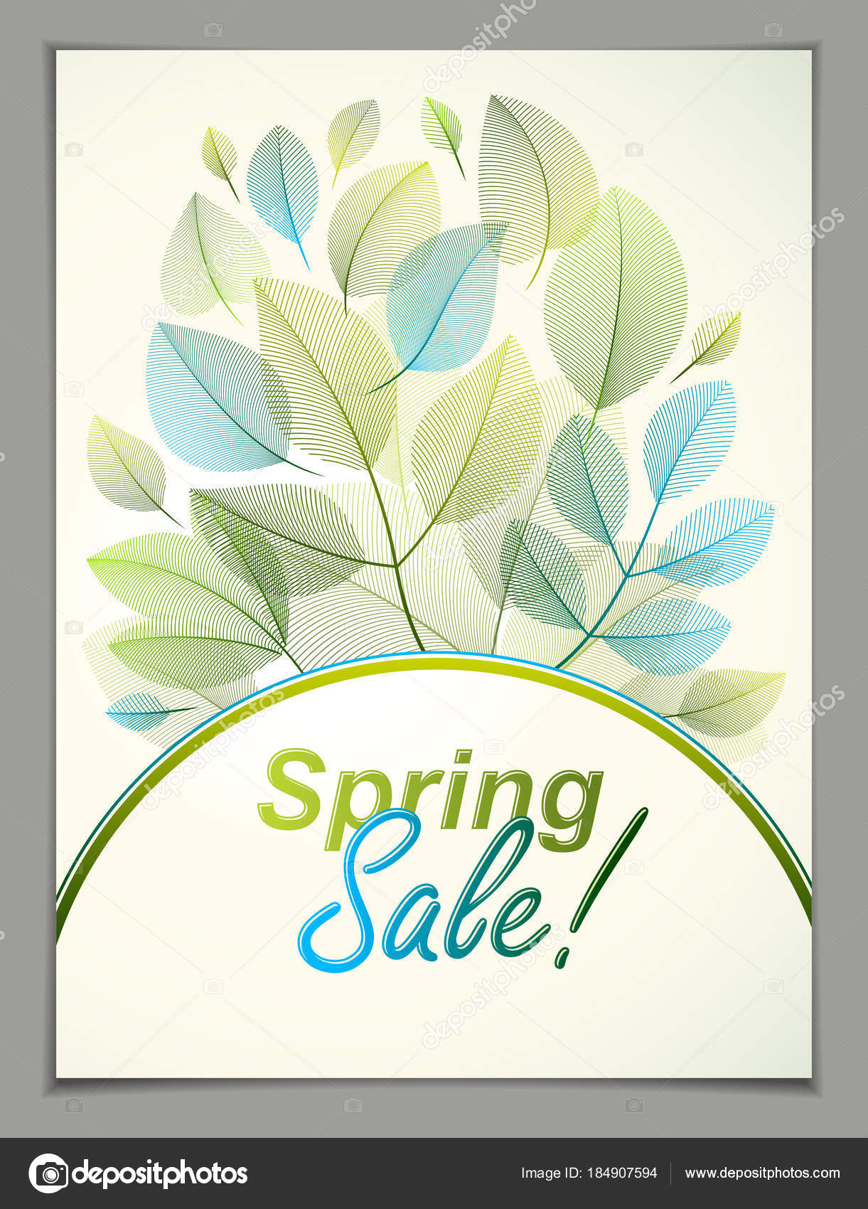 Spring Leaves Vertical Background Nature Seasonal Template For Design Banner Ticket Leaflet Card Poster With Green And Fresh Floral Elements