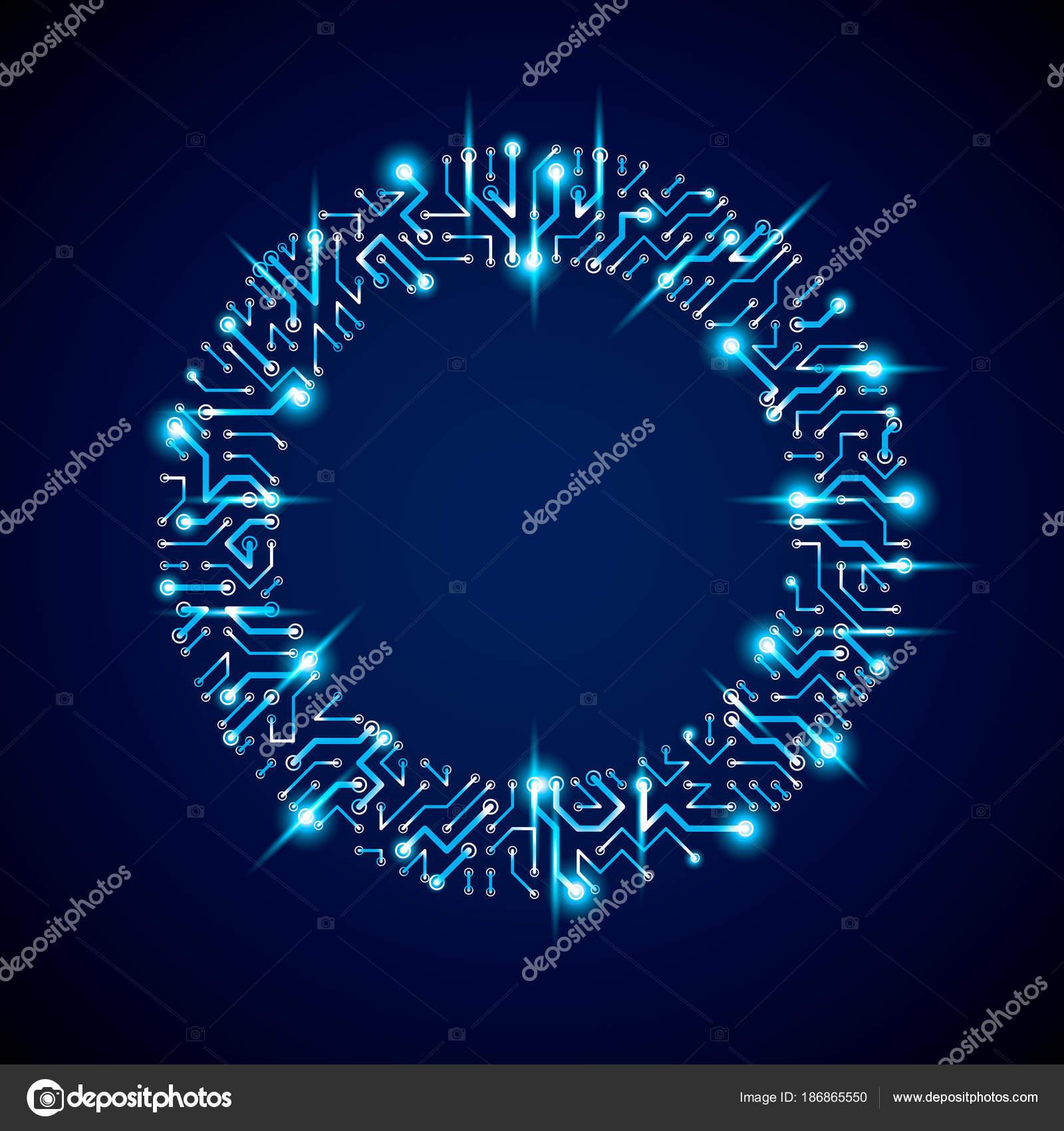 futuristic cybernetic scheme vector motherboard blue illustration