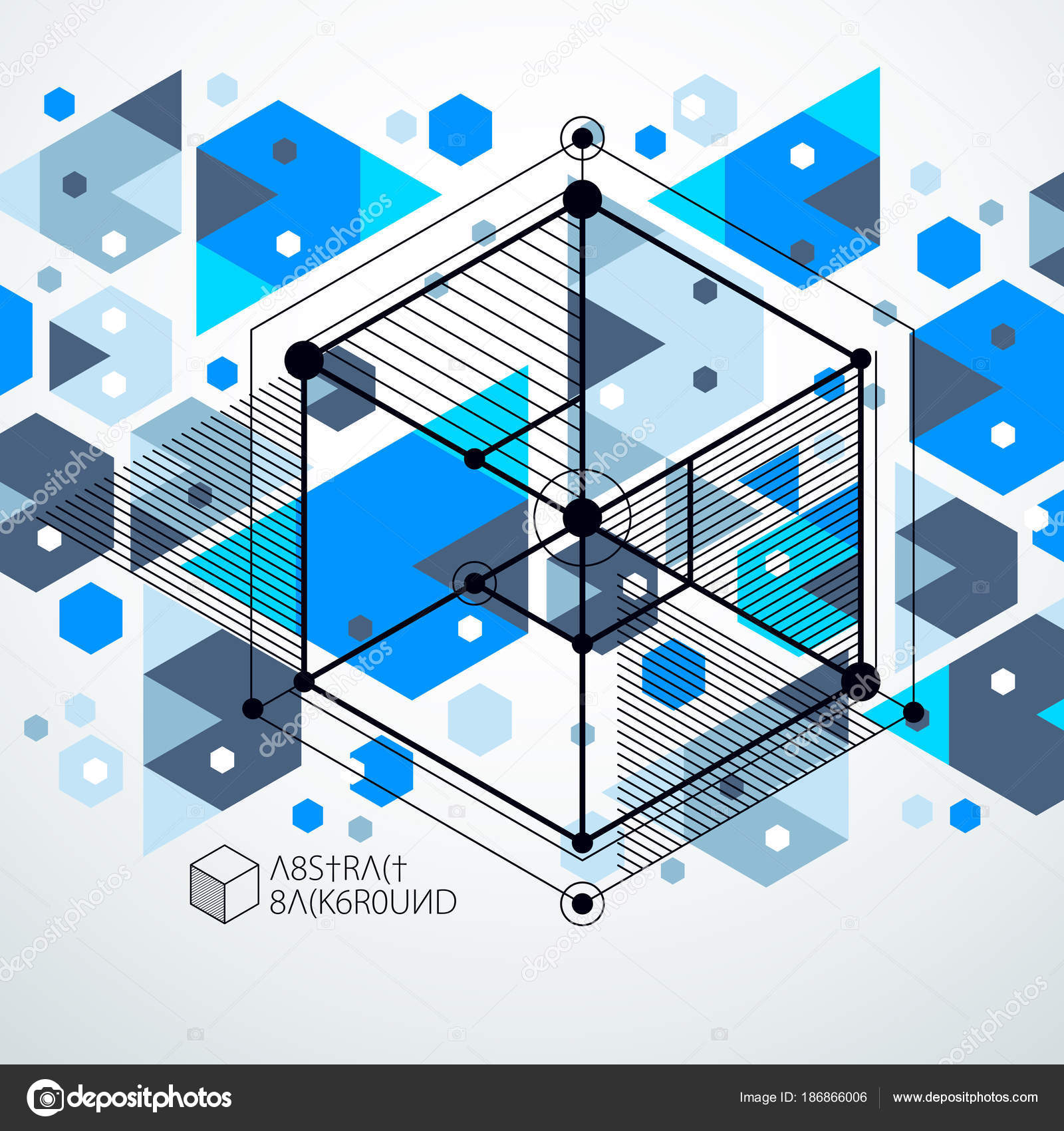 Engineering Technology Vector Blue Wallpaper Made With 3D Cubes And Lines Technological Honeycombs