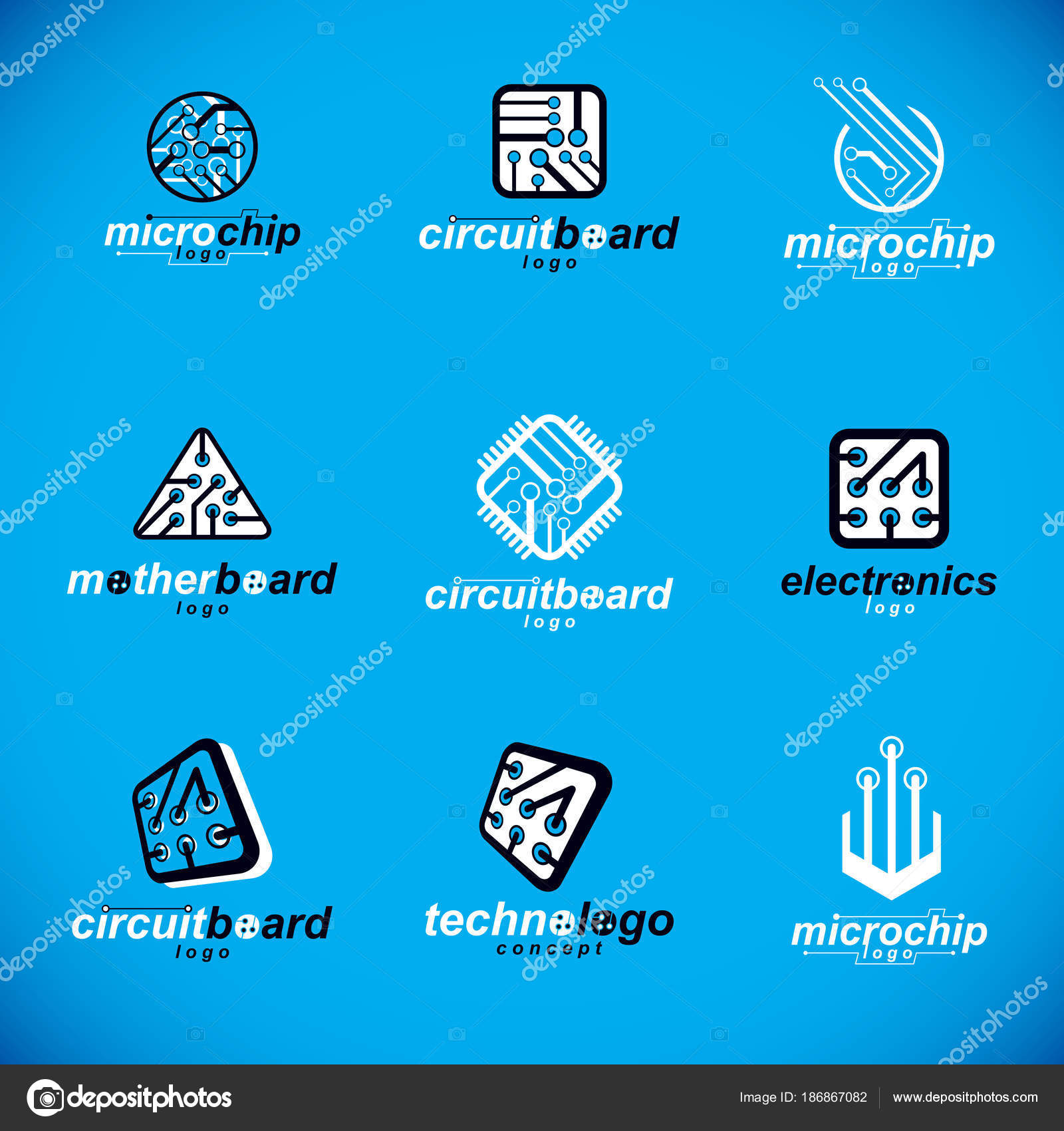 Technology Innovation Logos Set Vector Abstract Computer Circuit Board Logo Stock