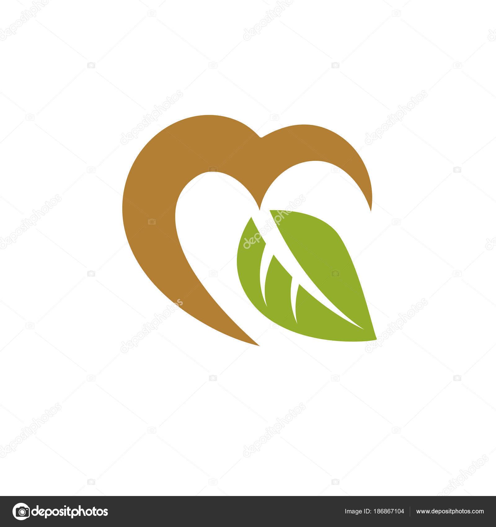 Ilustración Vector Amar Corazón Decorado Con Hojas Color Verde ...