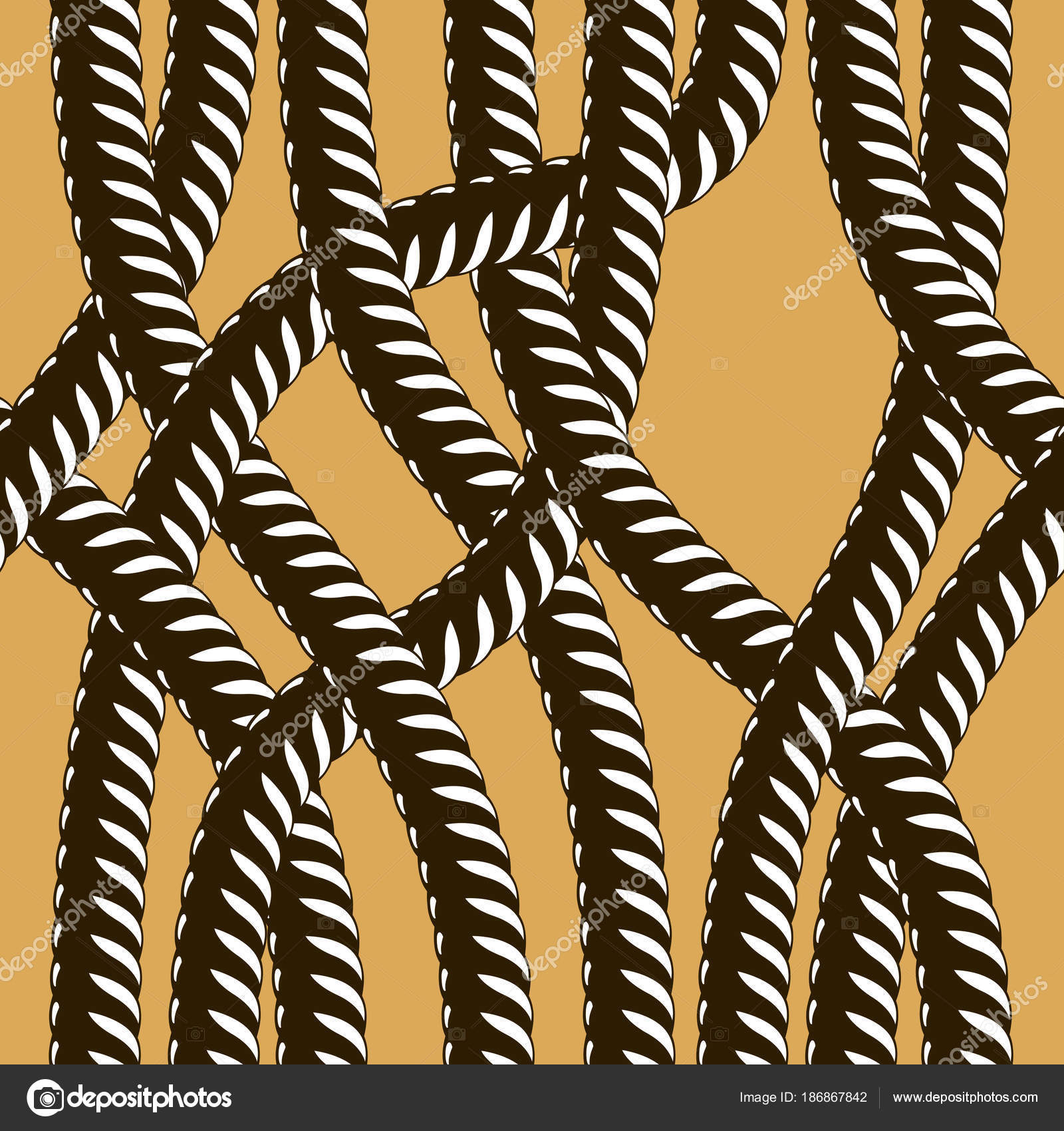 Rope Seamless Pattern Trendy Vector Wallpaper Background Tangled Cord  Stylish U2014 Stock Vector