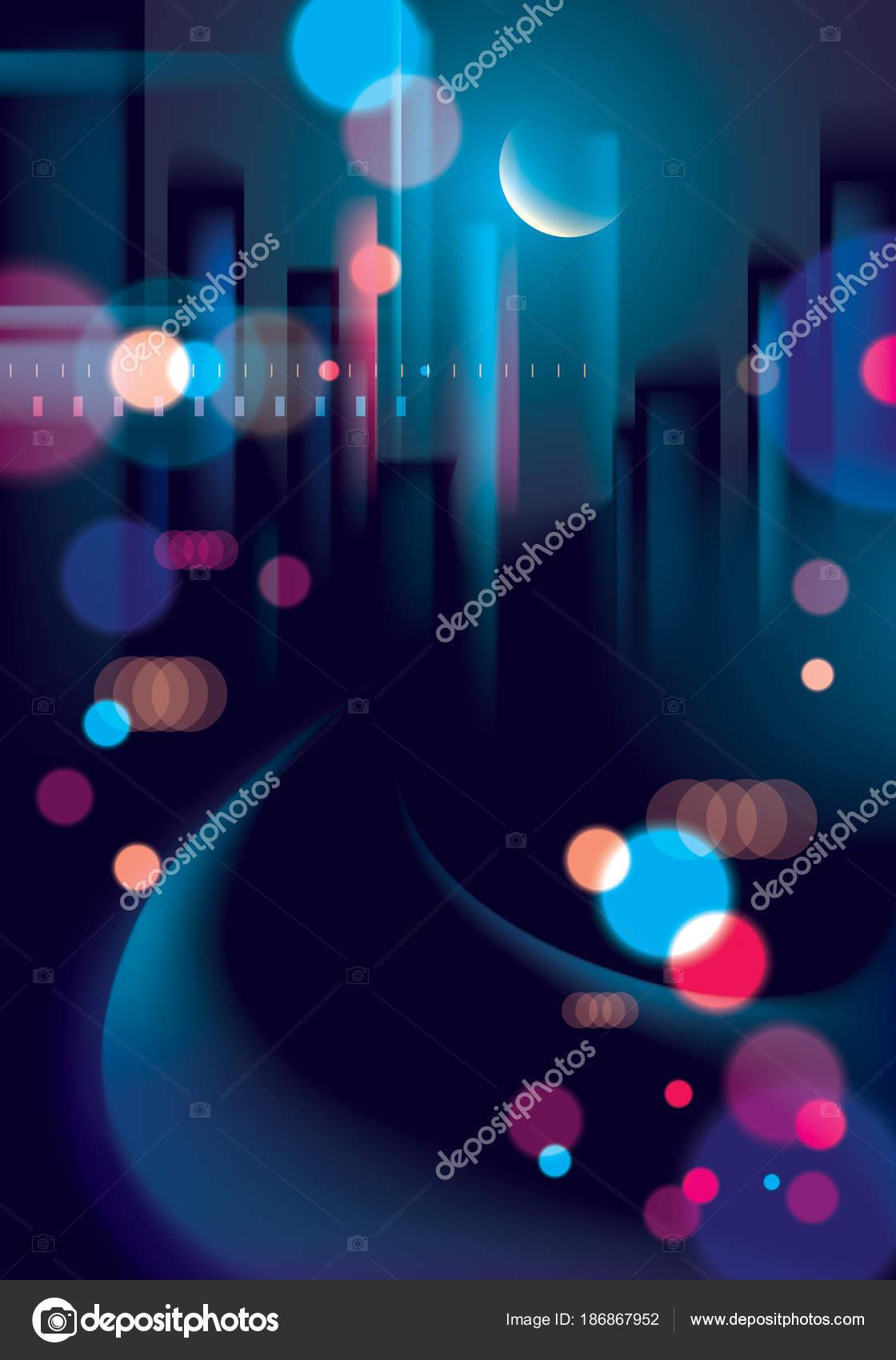 Abstrakte Urban Nachtlicht Bokeh Unscharf Hintergrund Gestellt ...