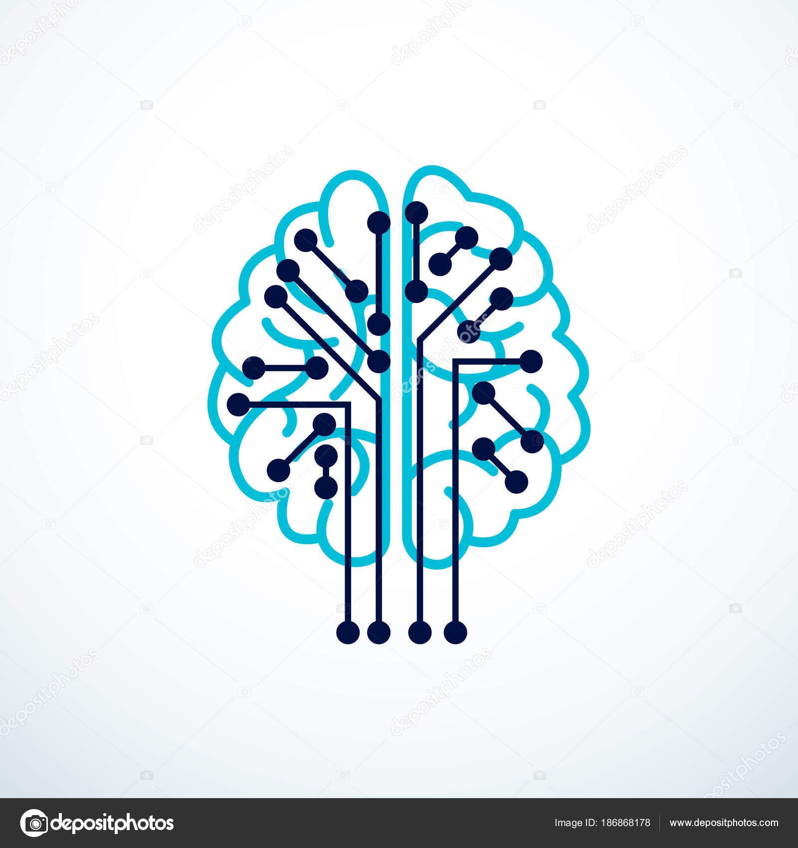 Künstliche Intelligenz Konzept Vektor Logo Design Digitale Geist Und ...