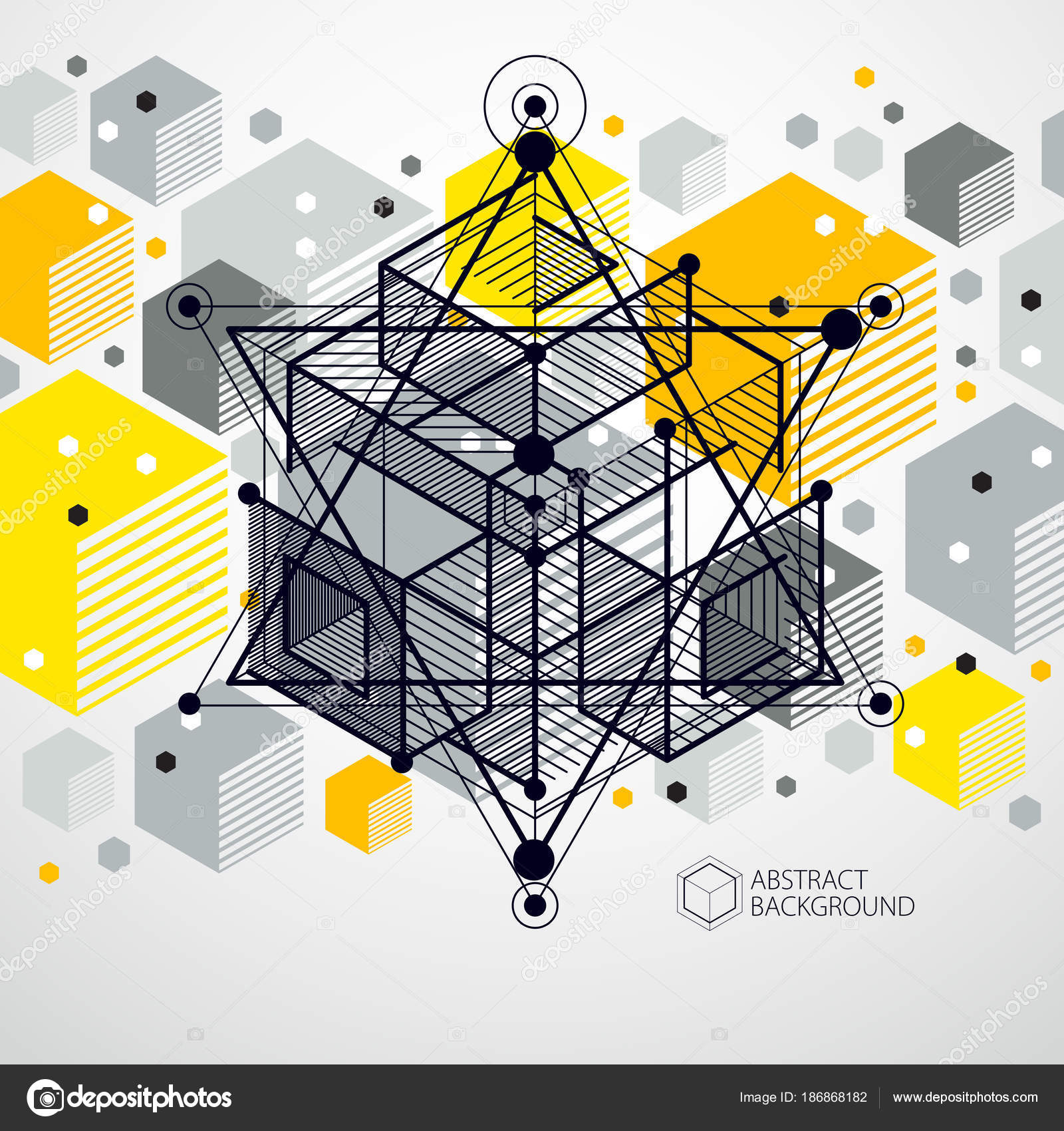 Vector Modern Abstract Cubic Lattice Lines Yellow Background Layout