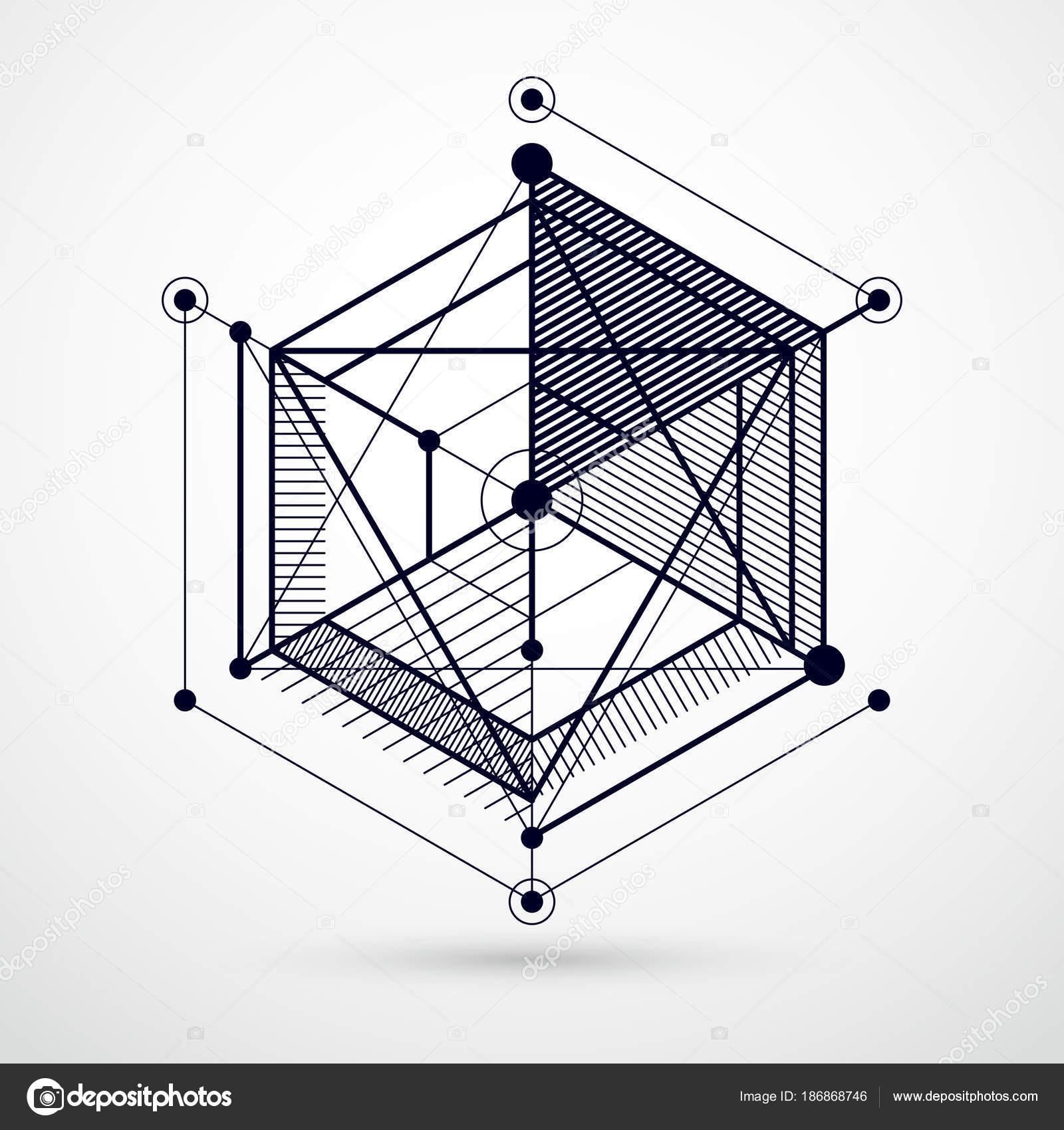 Dibujo Sistema Industrial Blanco Negro Creada Con Líneas Cubos ...