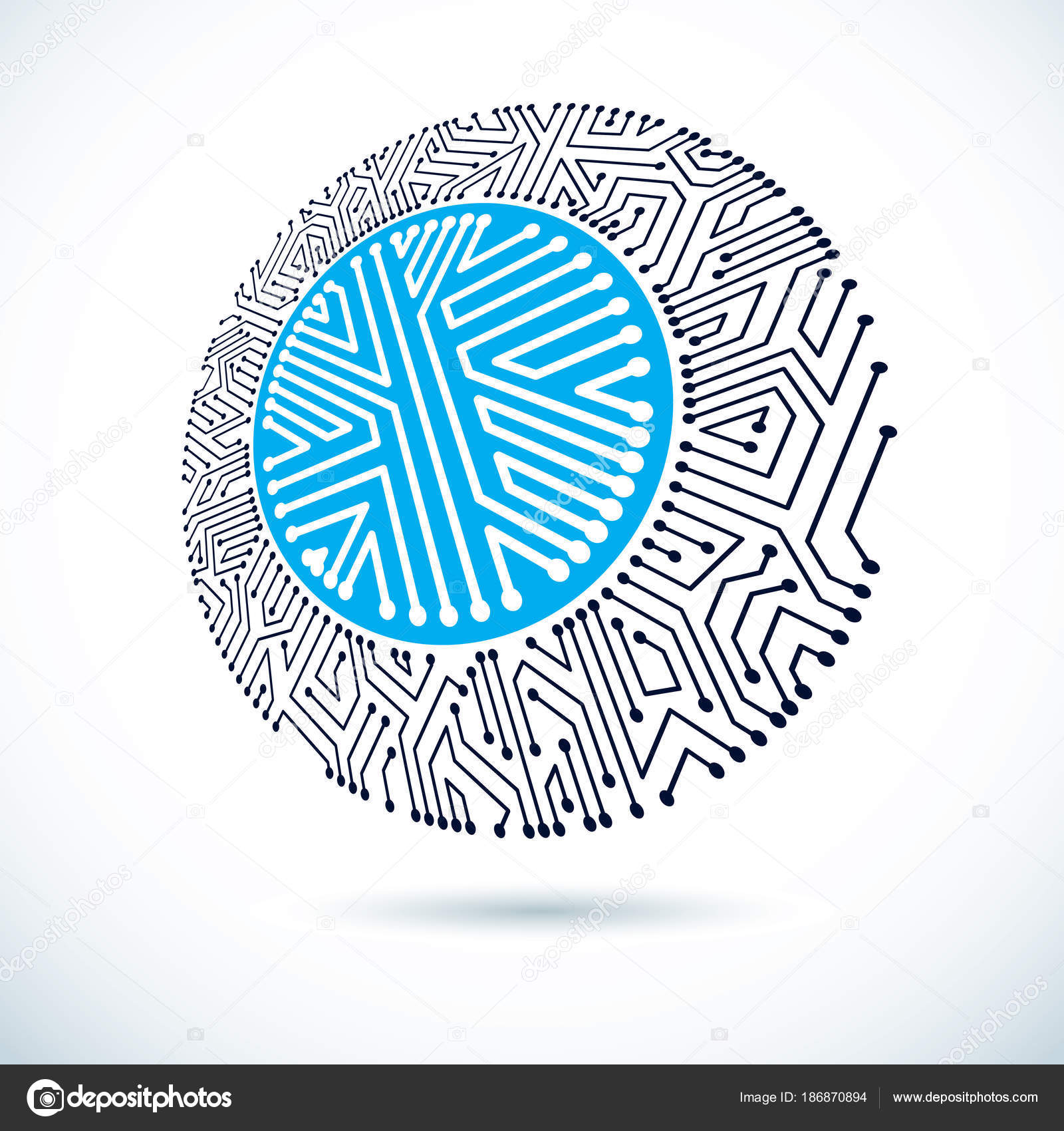 vector abstract technology illustration circular circuit board high