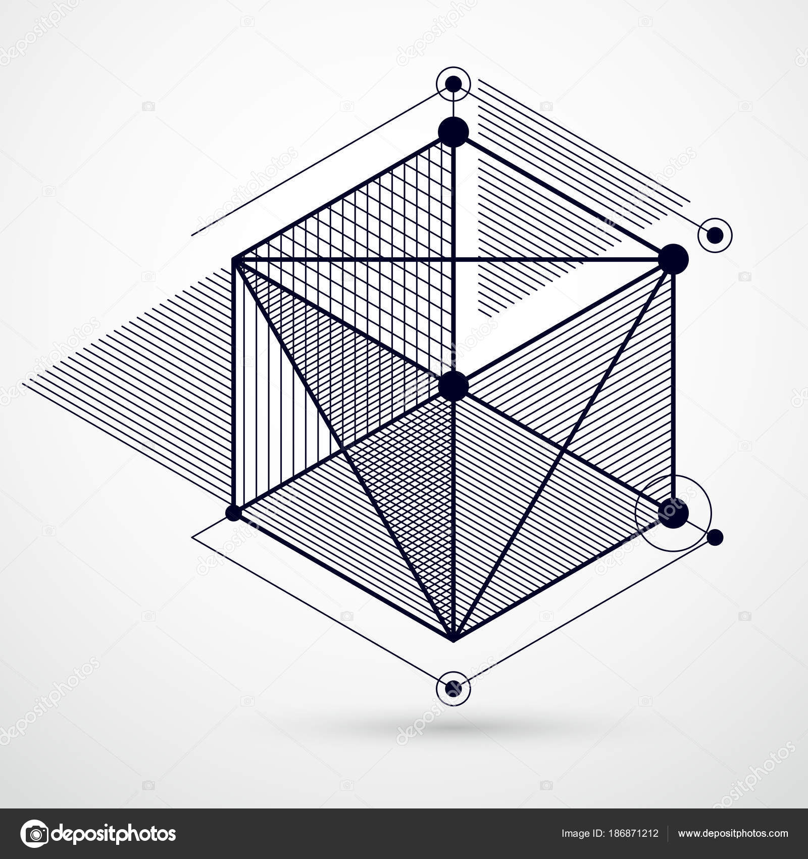 Vector Drawing Black White Industrial System Created Lines Cubes ...