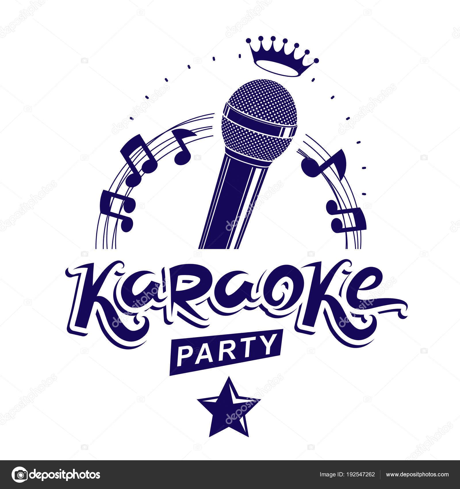 Cartel Invitación Fiesta Karaoke Fondo Blanco Vector De