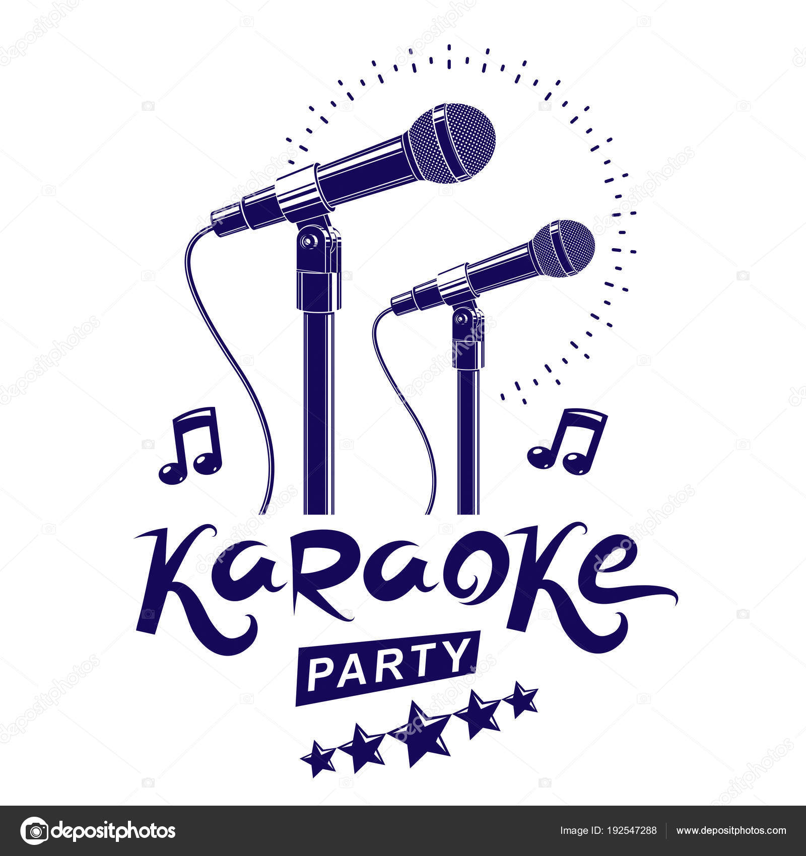 Karaoke Party Invitation Poster White Background — Stock Vector ...