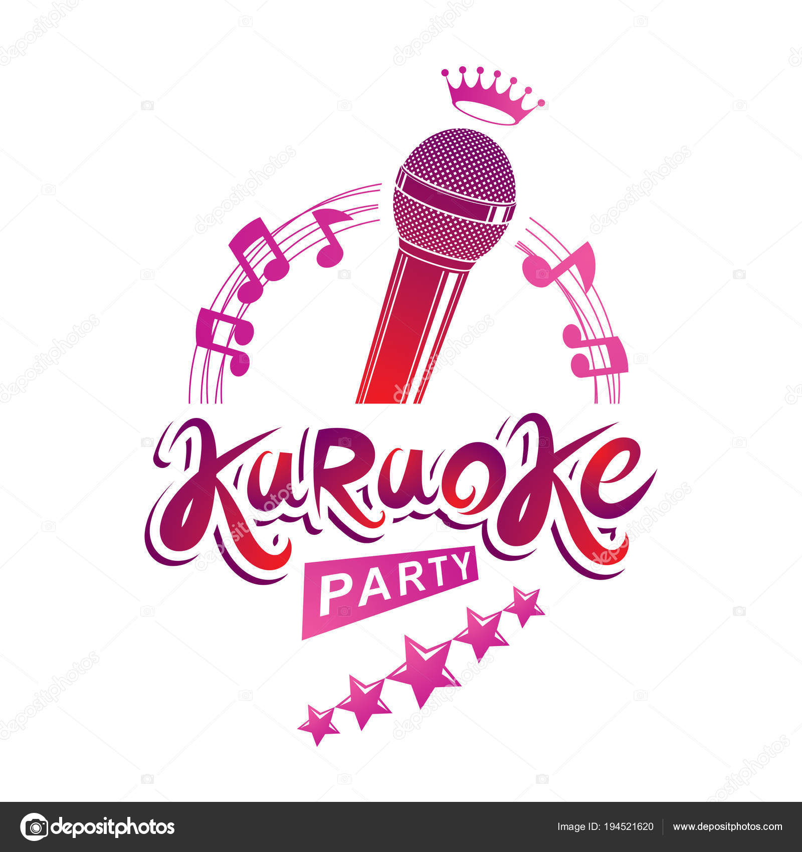 Karaoke Party Invitation Poster Isolated White Background — Stock ...