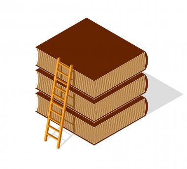 Education and knowledge concept shown with book and ladder to the top, vector concept illustration in 3d isometric style.