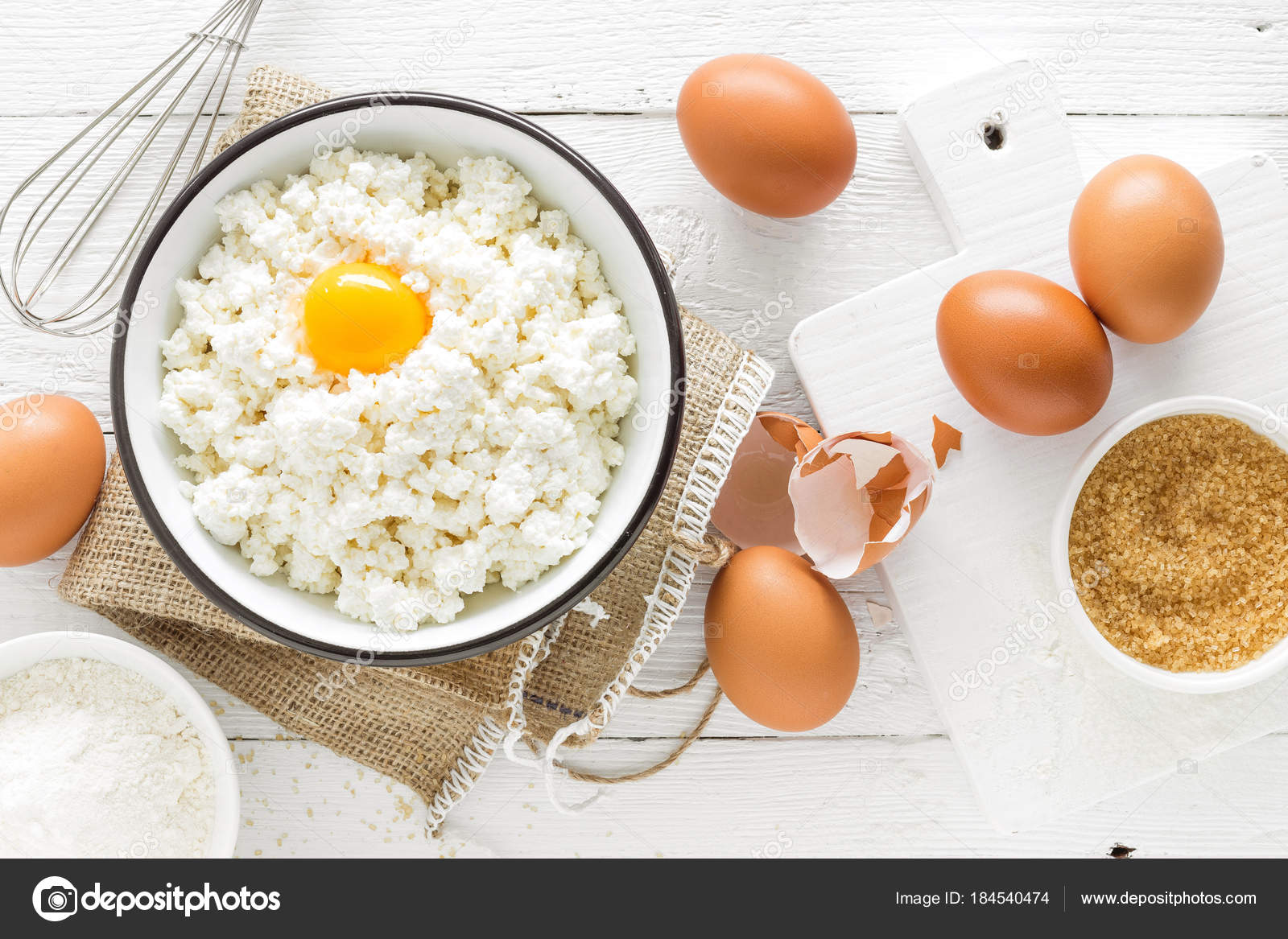 Culinary Background Ingredients Cooking Cottage Cheese Baking Flour Sugar  Eggs U2014 Stock Photo
