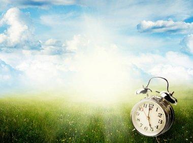 Springtime clock in field
