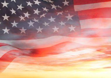 U.S. flag and sky