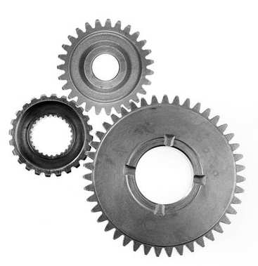 Three steel gears